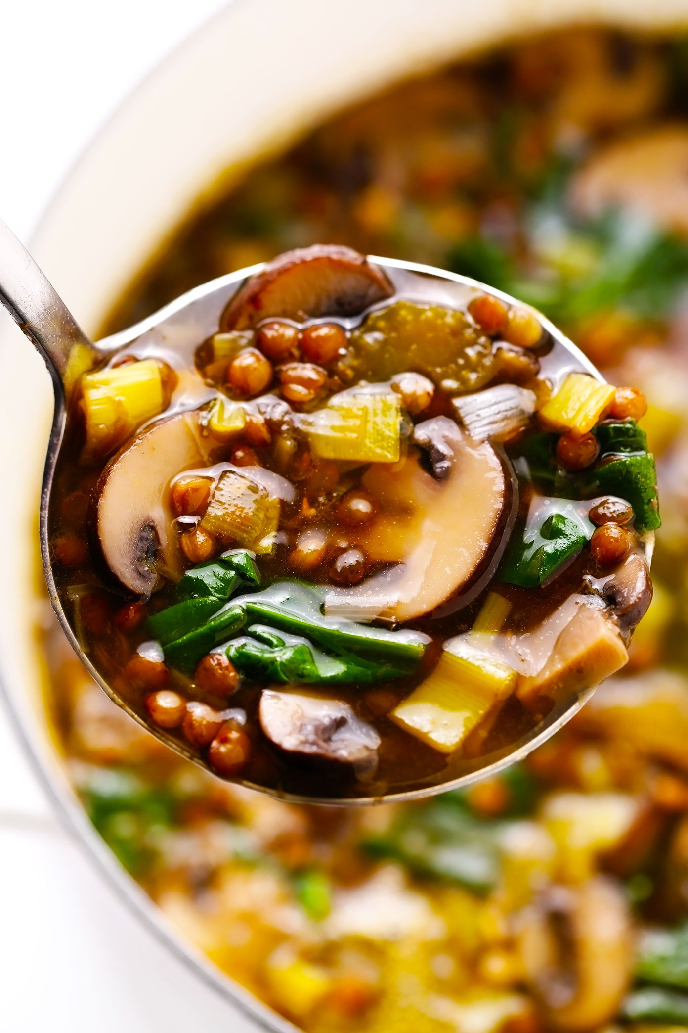 French Lentil Soup with Mushrooms and Spinach in Ladle