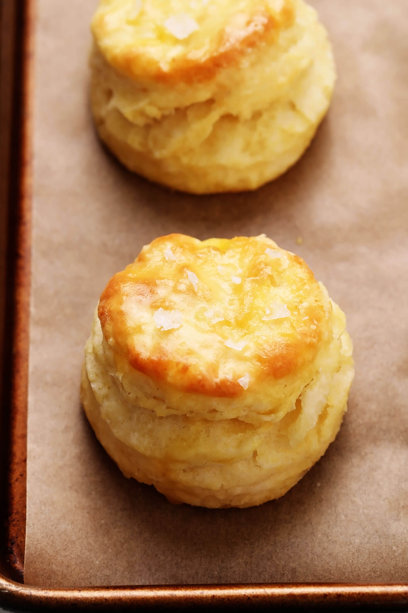 Buttermilk Biscuits sprinkled with flaky sea salt closeup