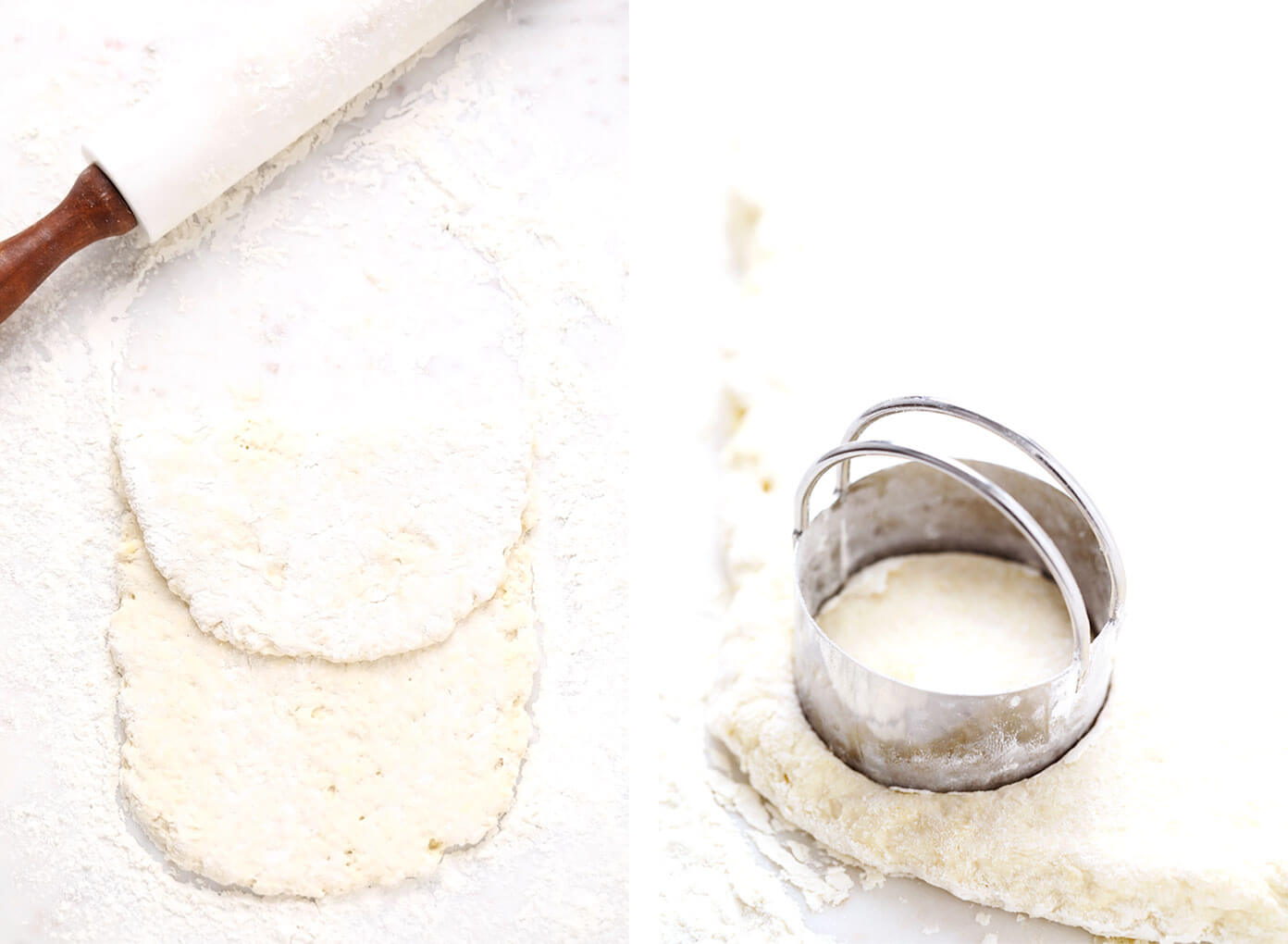 Rolling out biscuit dough and cutting with a biscuit cutter
