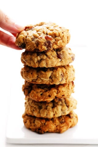 Stack of Oatmeal Cookies with Raisins
