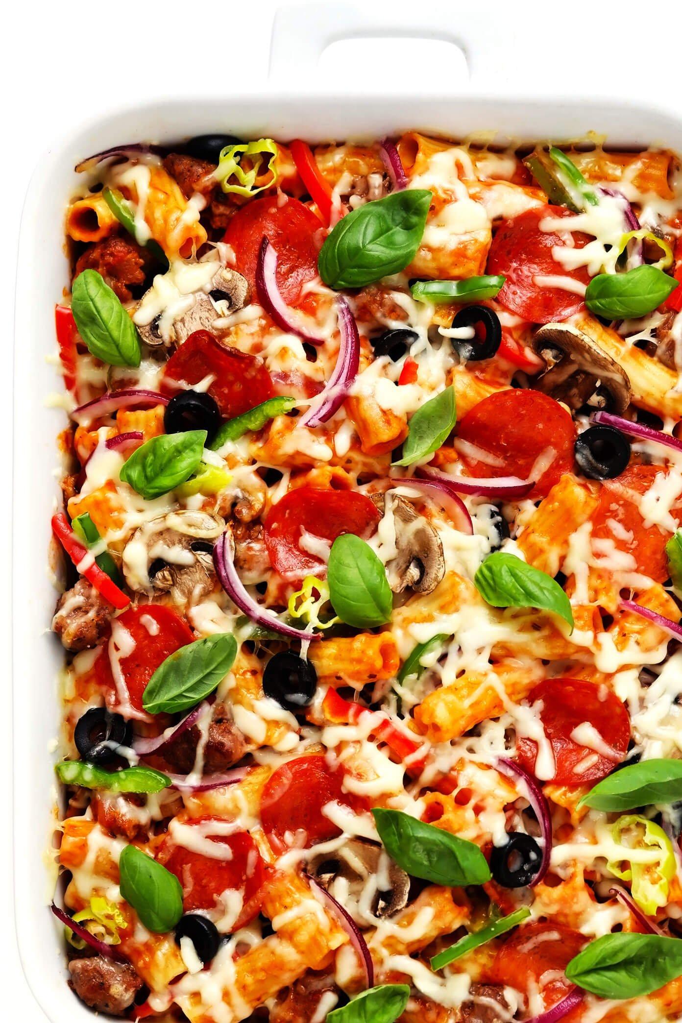 Pizza Baked Ziti Recipe in Casserole Pan