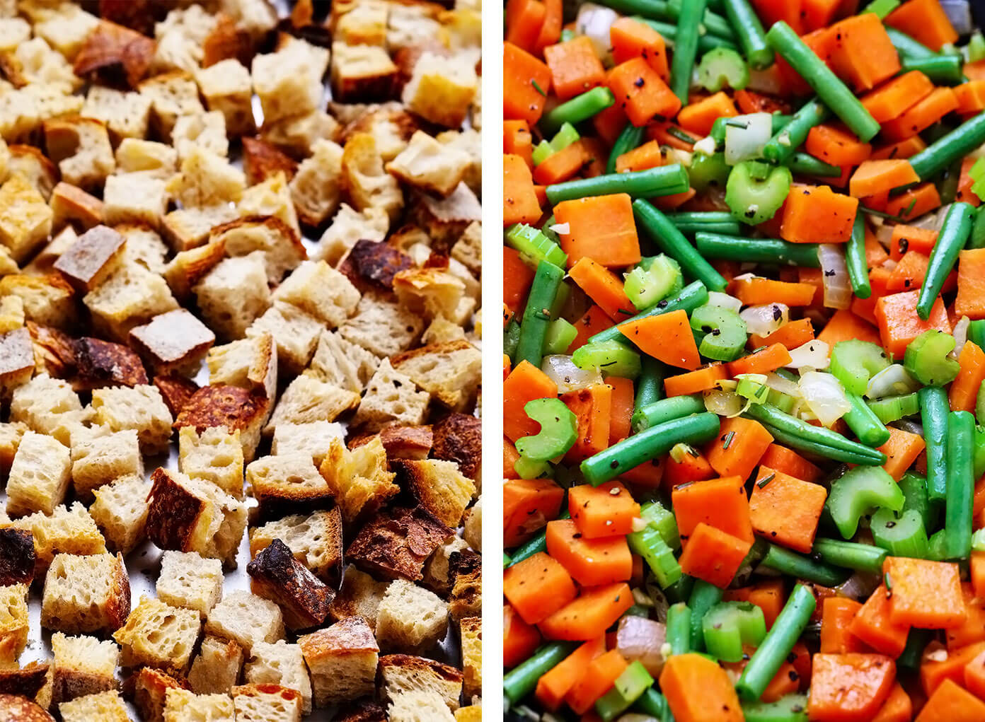 Toasted Sourdough Croutons and Sautéed Thanksgiving Veggies