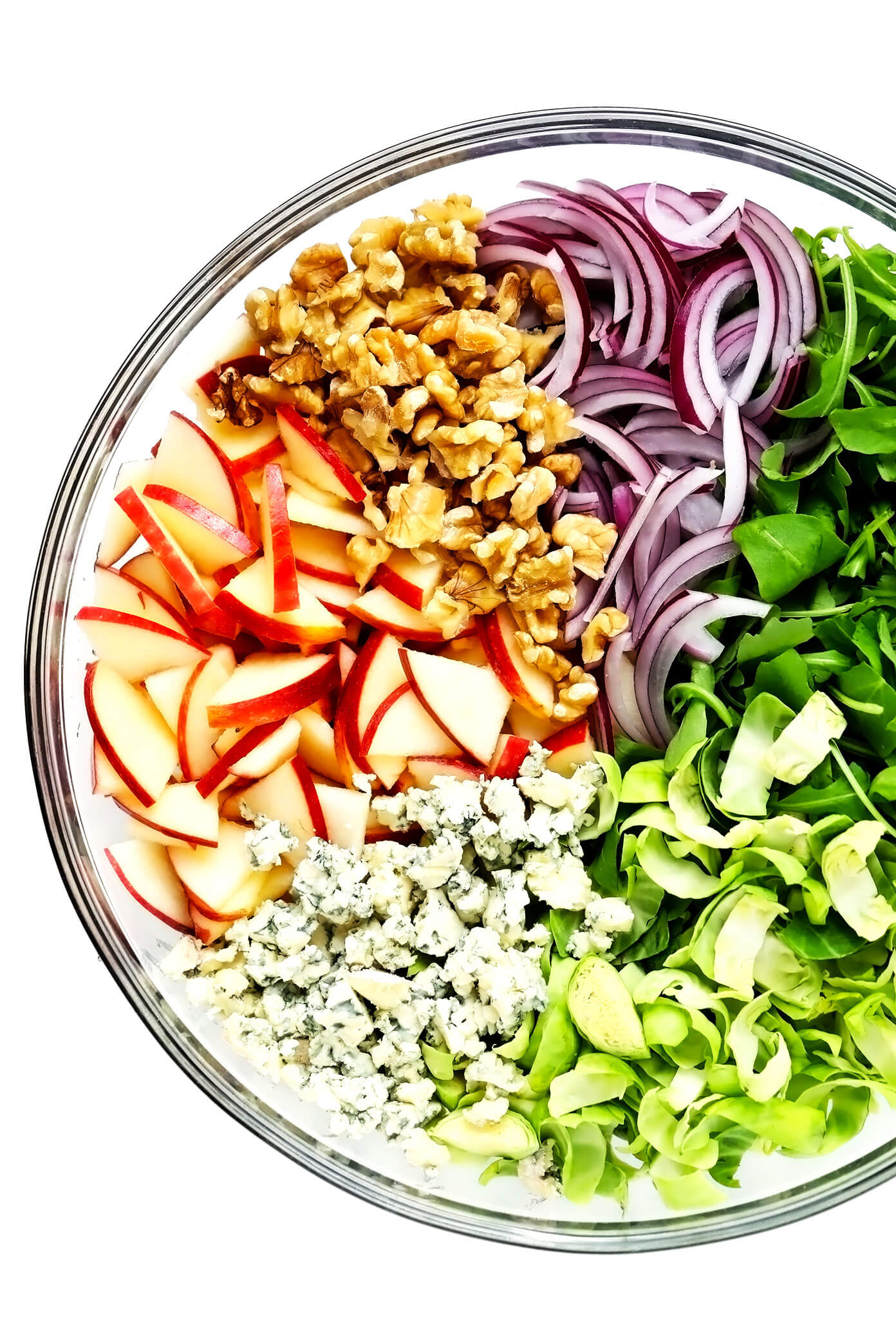 Bowl with Apples, Walnuts, Red Onion, Arugula, Shredded Brussels and Blue Cheese