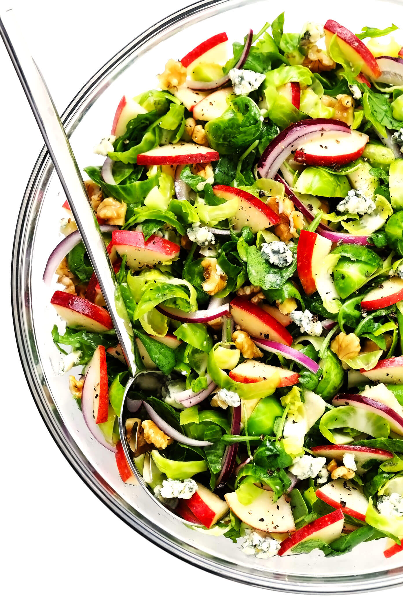 Brussels Sprouts Salad with Apples in Mixing Bowl