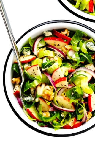 Brussels Sprouts Salad with Apples and Walnuts