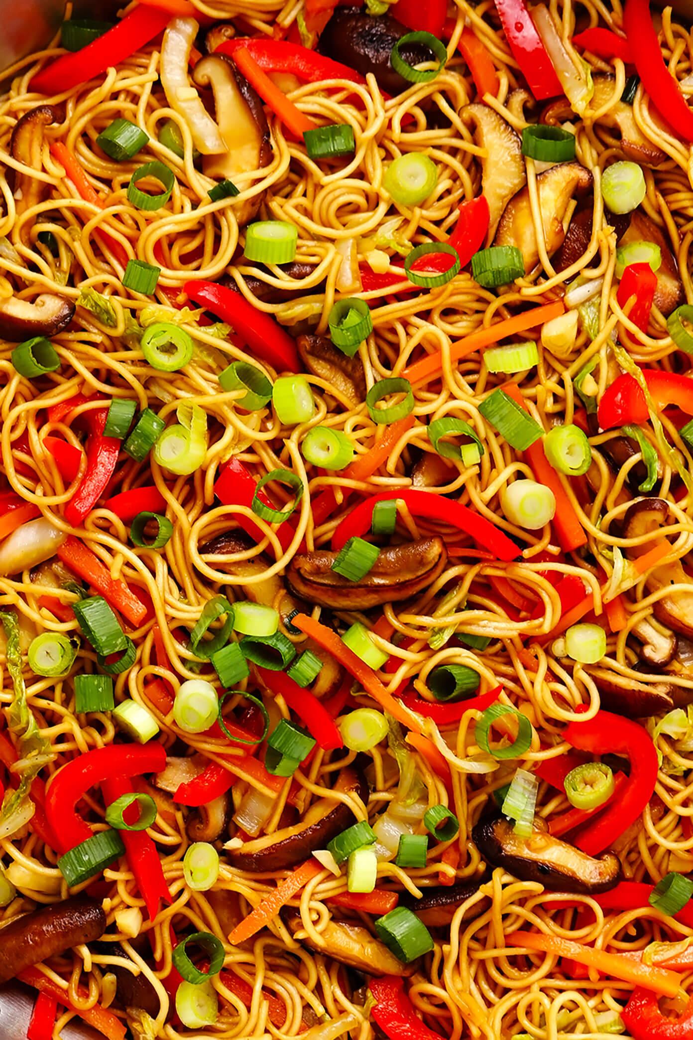 Chow Mein Noodles Closeup
