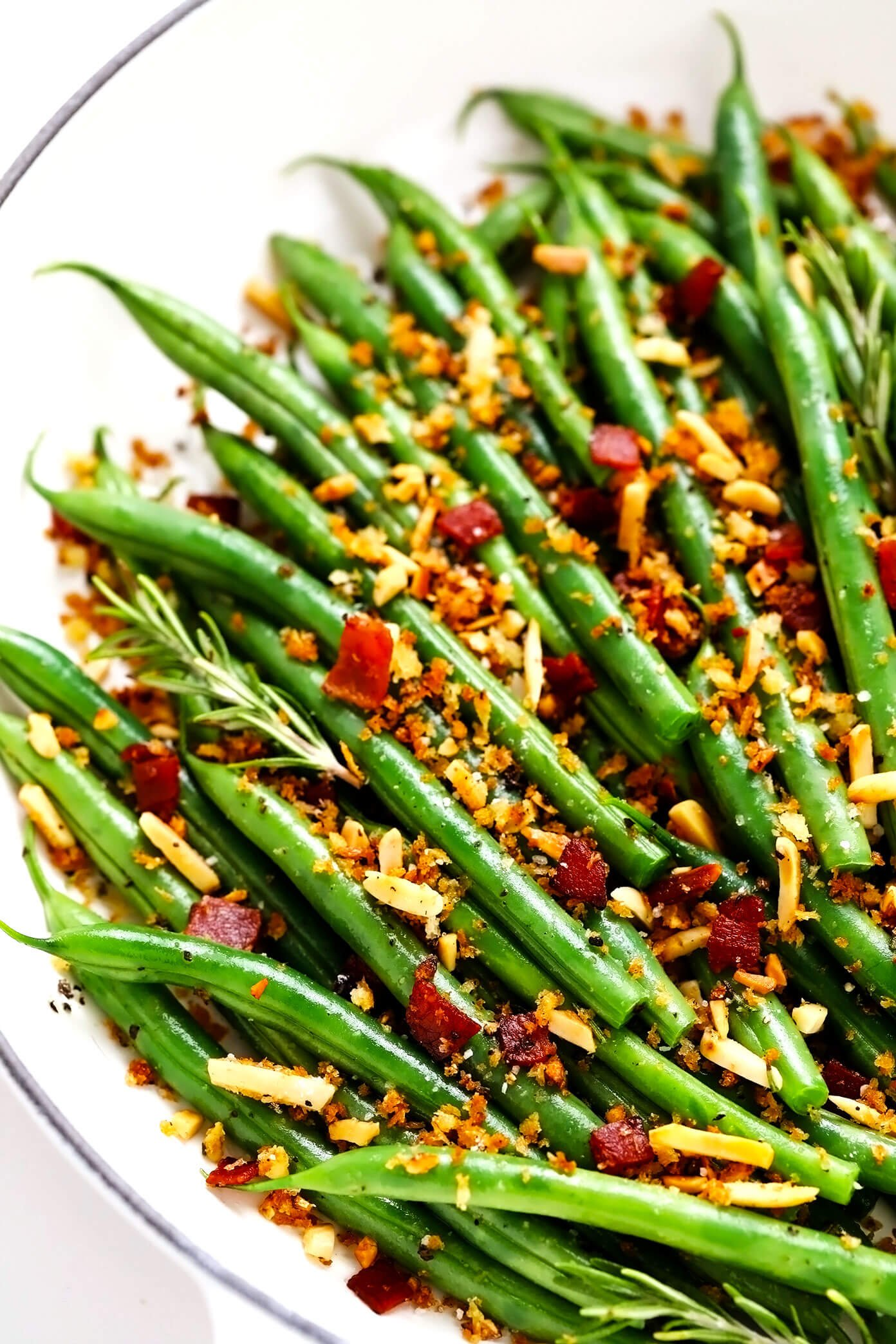 Green Beans with Rosemary Bacon Breadcrumbs in Saute Pan