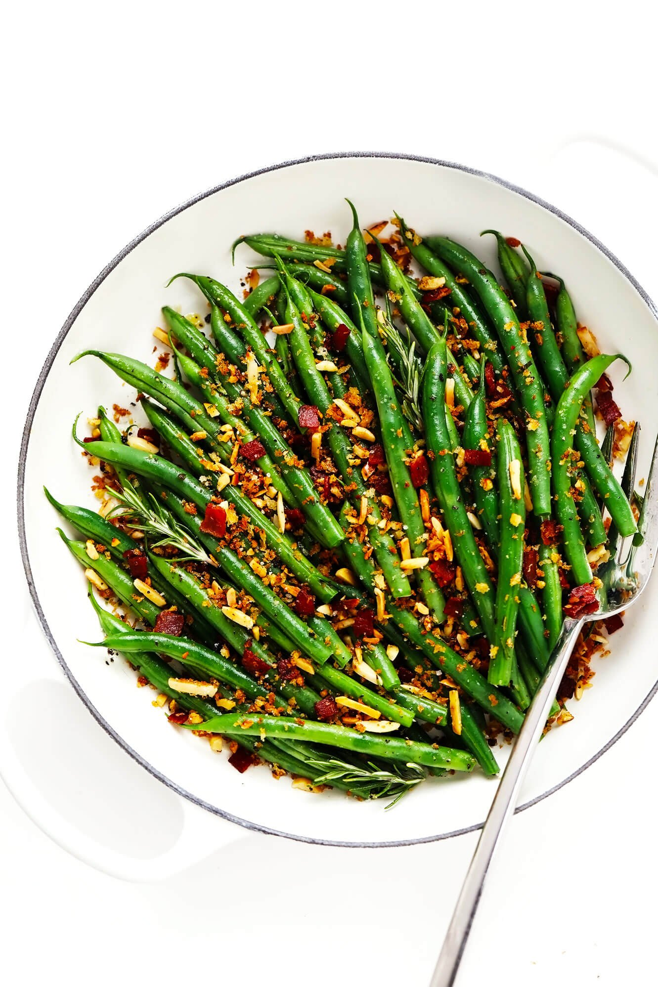 Green Beans with Bacon Breadcrumbs in Saute Pan with Fork