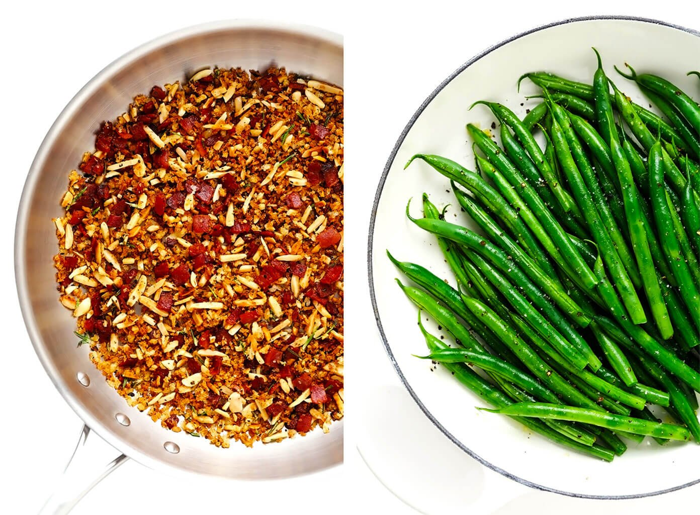 Bacon Breadcrumbs in Saute Pan plus Steamed Green Beans