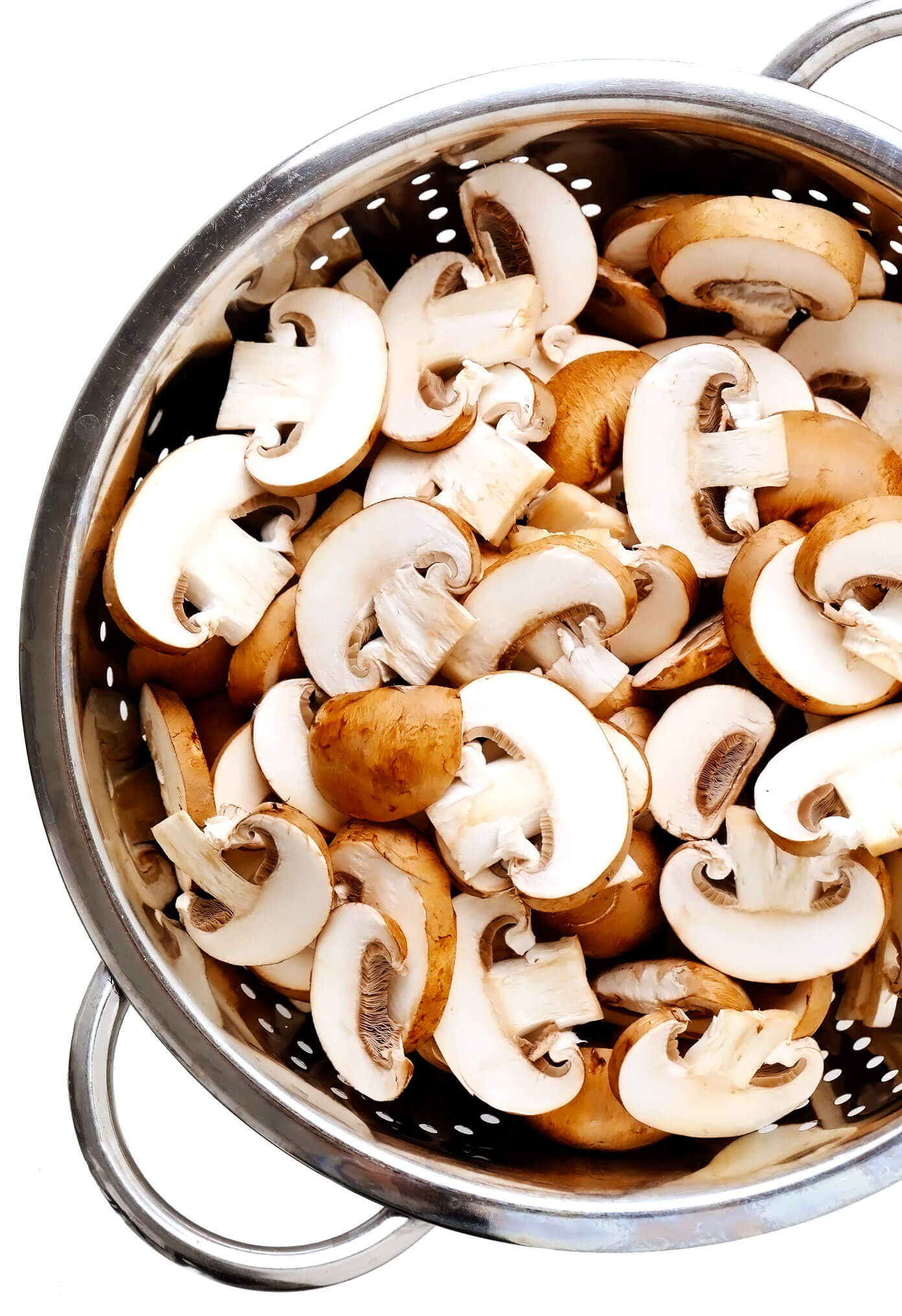 Baby Bella (Cremini) Mushrooms In Strainer