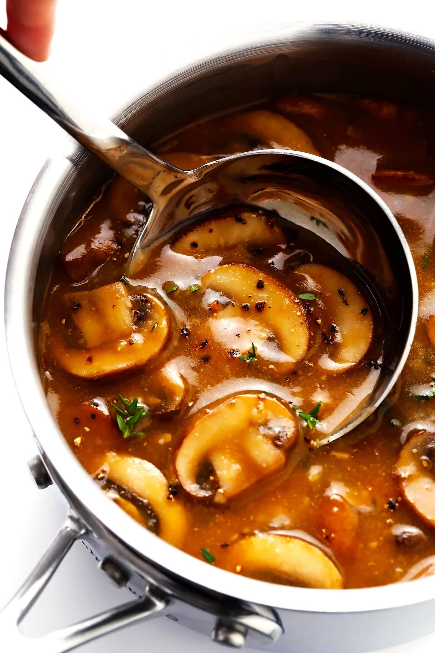 Mushroom Gravy (Vegan) in Saucepan