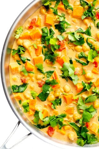 Sweet Potato Chickpea Coconut Curry in Saute Pan