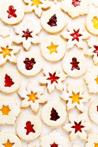 Linzer Cookies with Snowflake and Christmas Cut-Outs