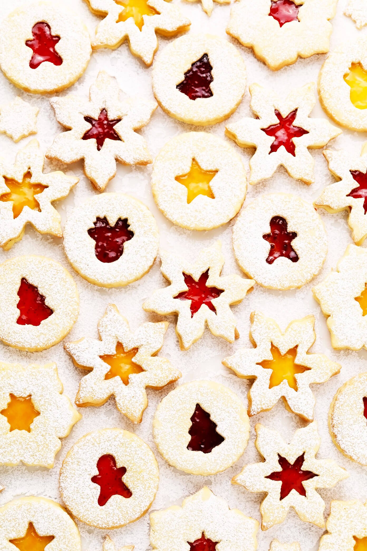 Linzer Cookies with Christmas and Snowflake Cut-Outs