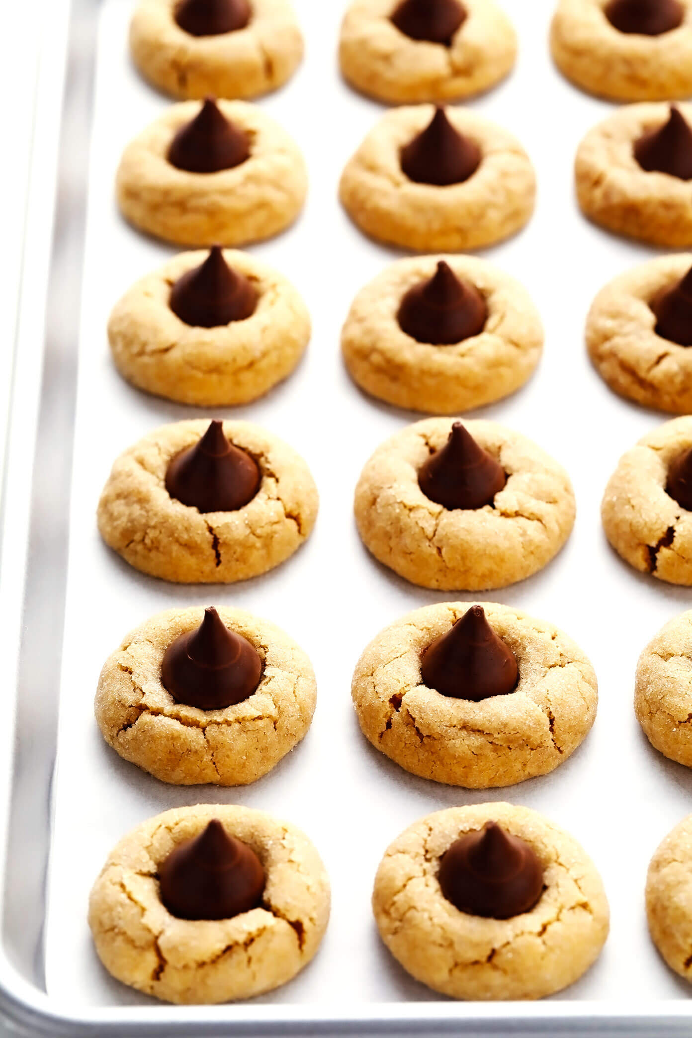 Peanut Butter Blossoms on Cookie Sheet