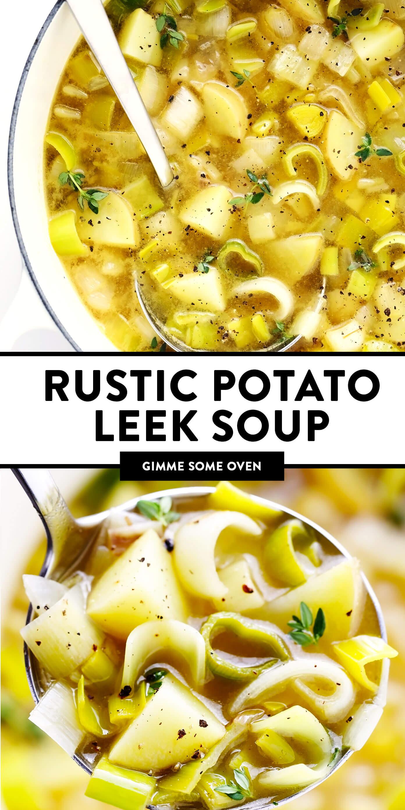Sopa rústica de batata e alho-porro