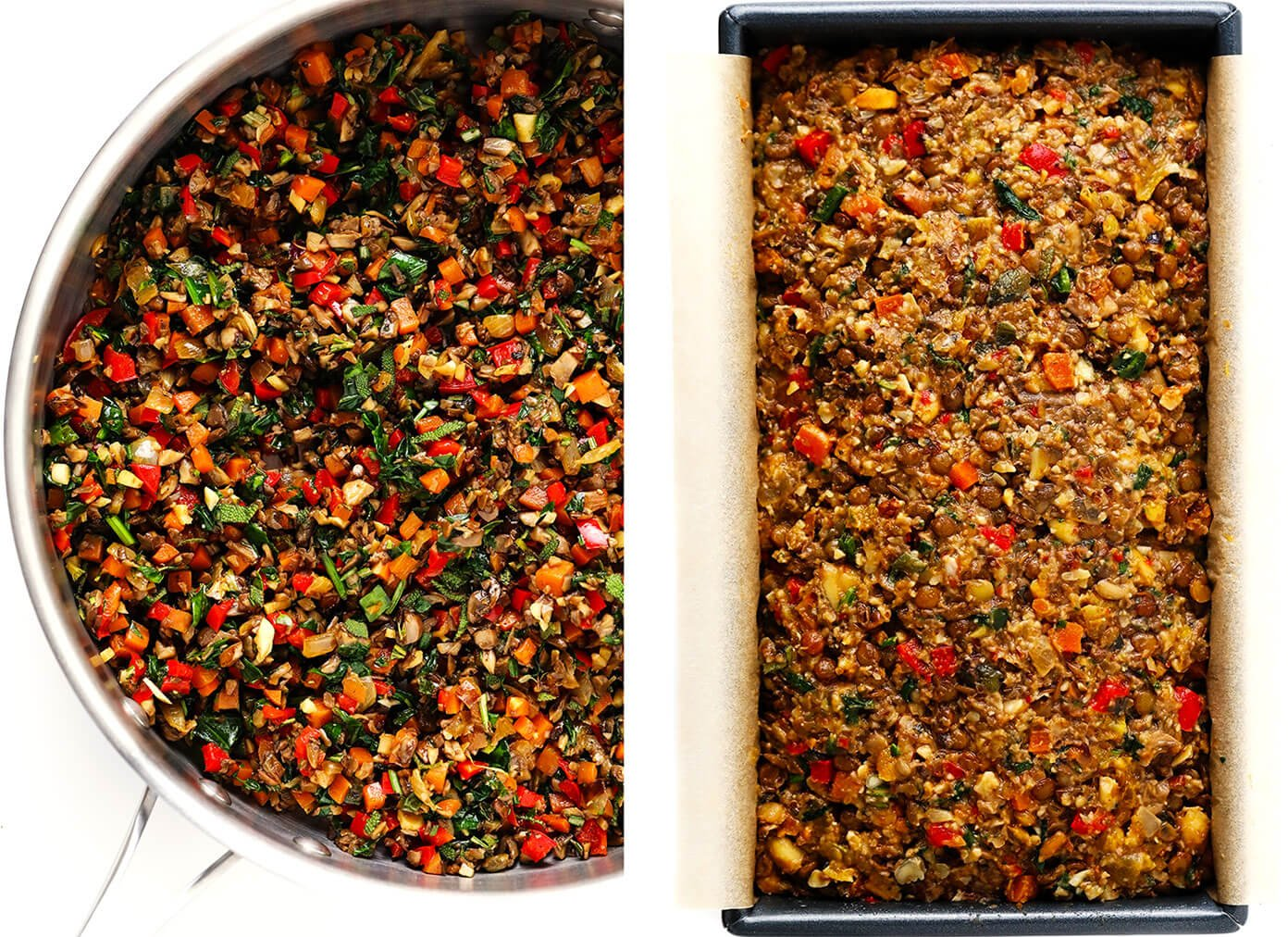 How To Make Nut Roast -- Sauteing the Veggies and Pressing Them Into a Bread Pan