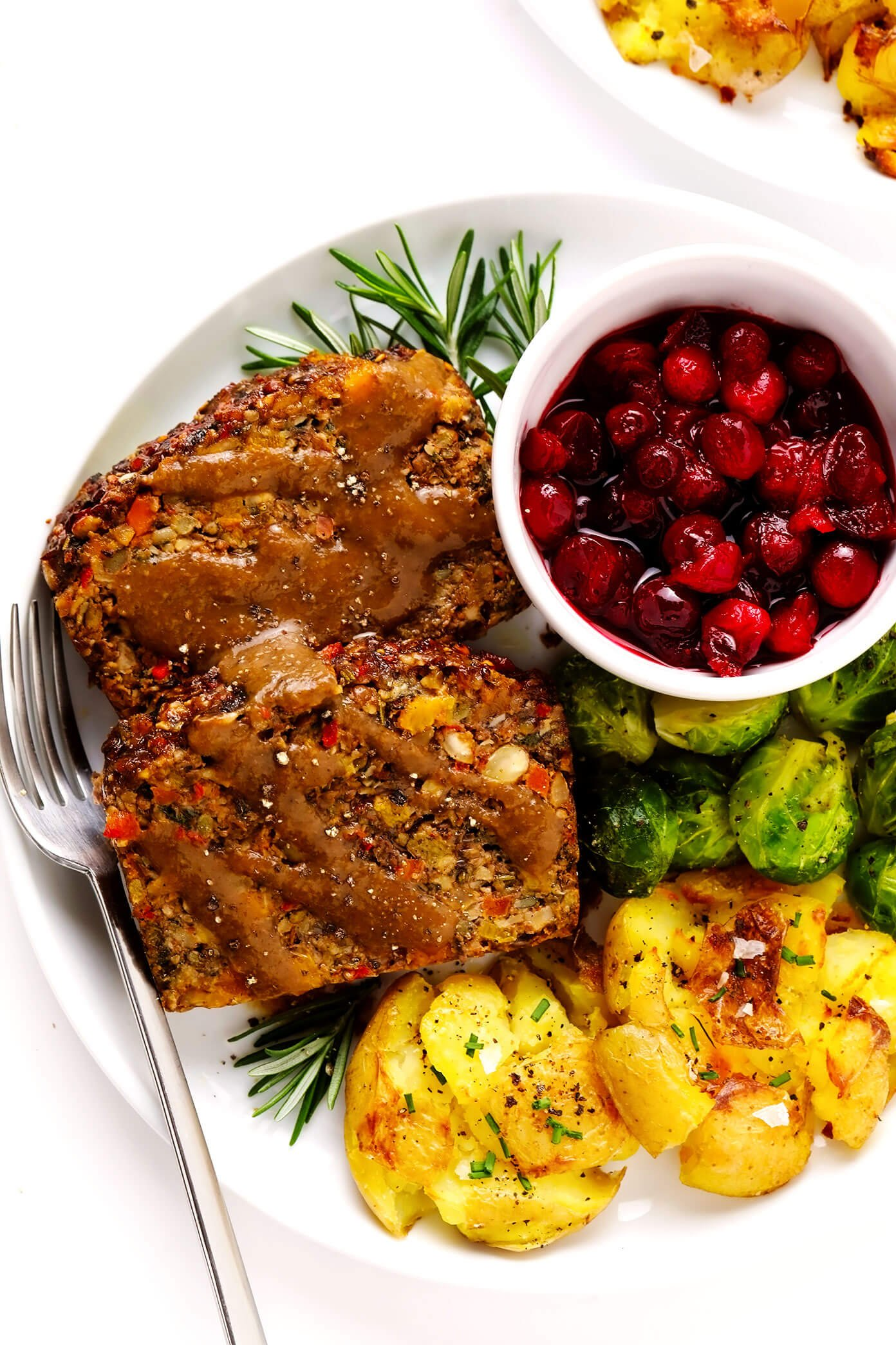 Nut Roast with Gravy, Smashed Potatoes, Roasted Brussels Sprouts and Cranberry Sauce