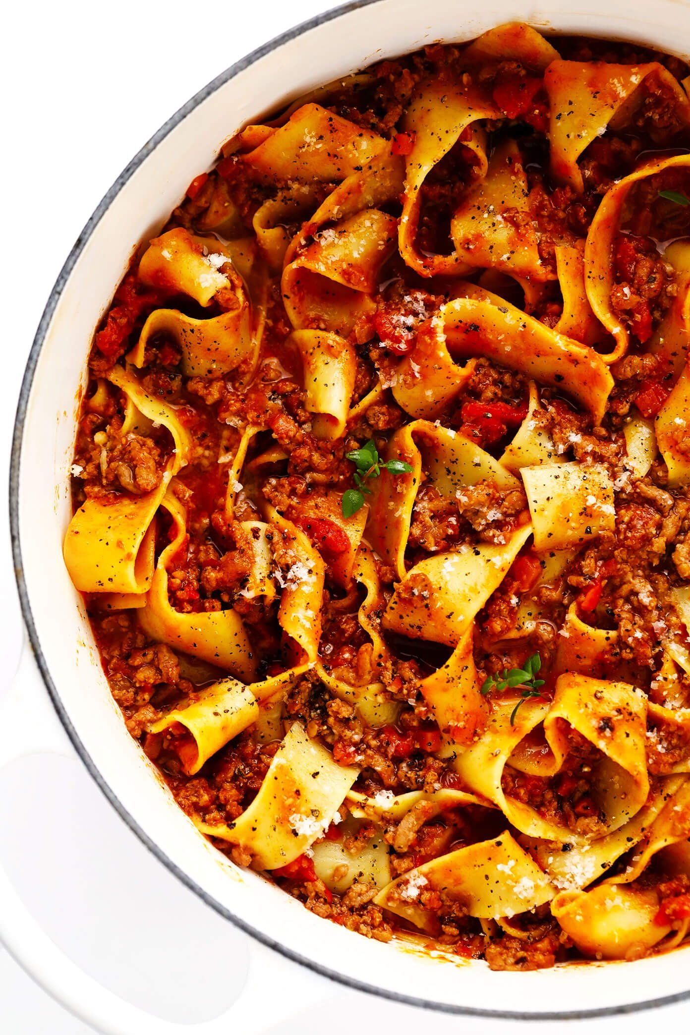 Pasta Bolognese with Pappardelle in Pot