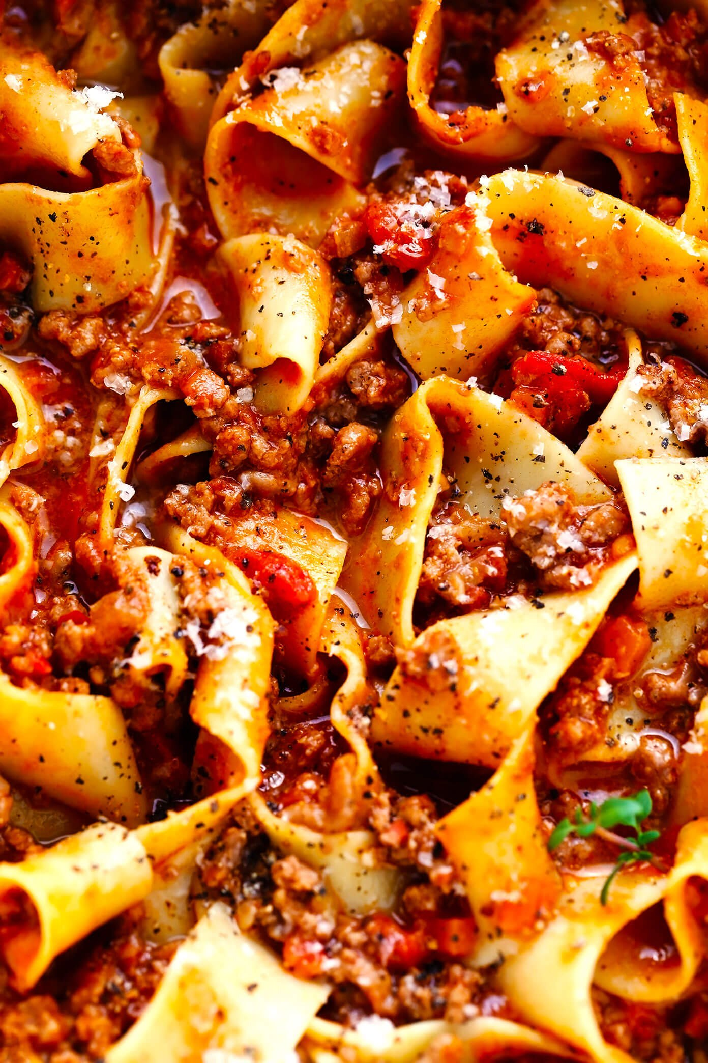Closeup of Pappardelle Bolognese