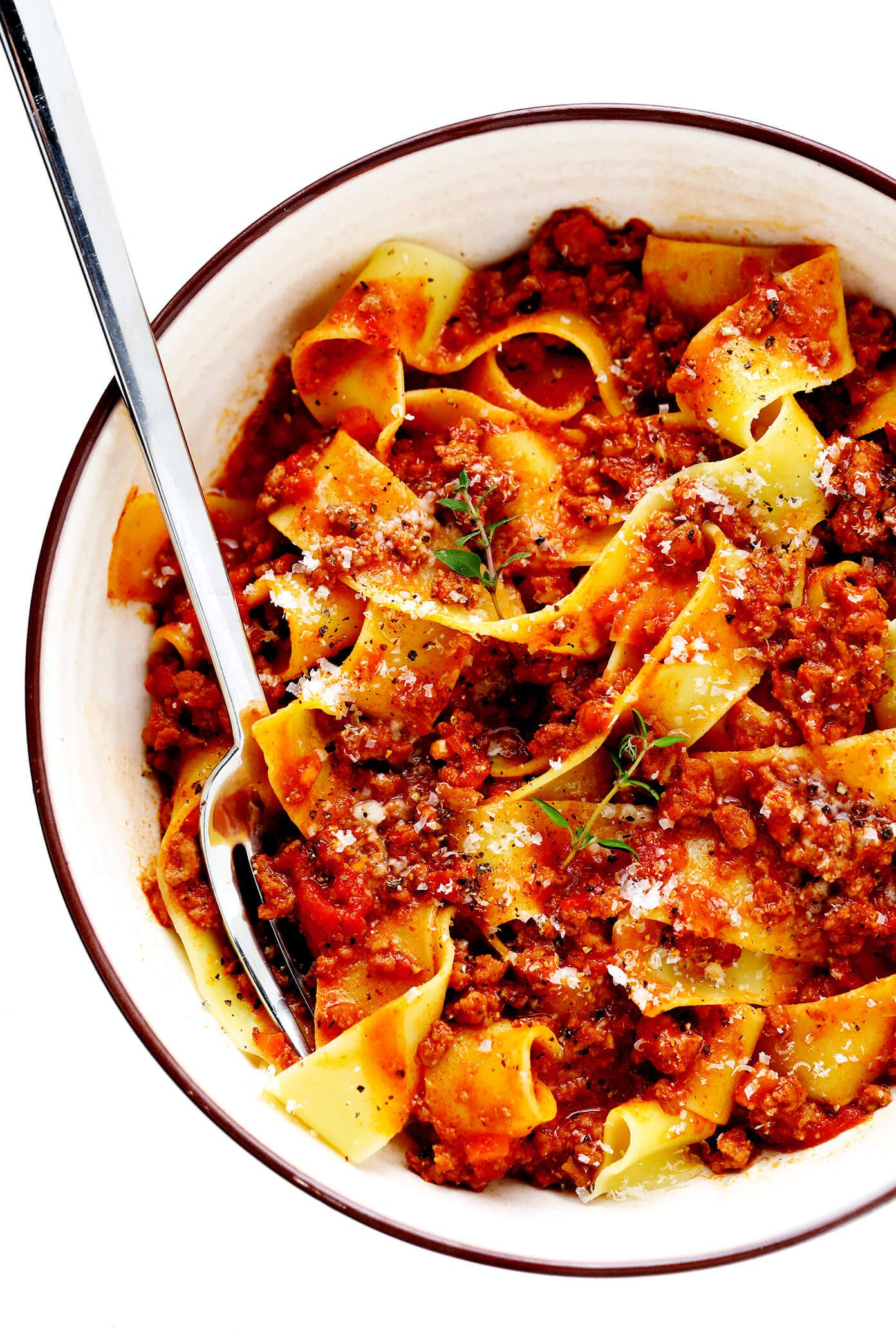 Pasta Bolognese Recipe with Pappardelle In Bowl