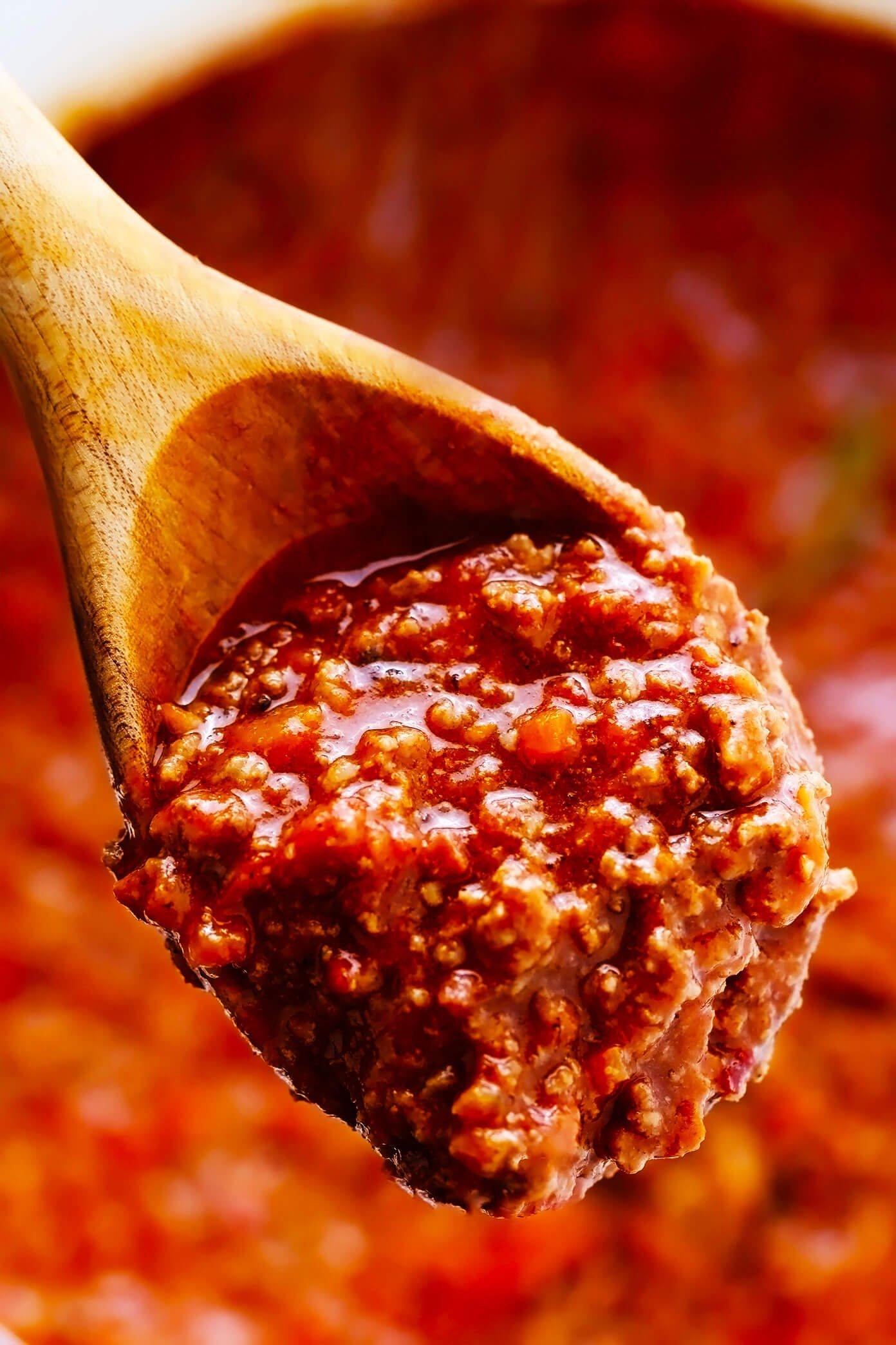 Closeup of Bolognese Sauce Recipe