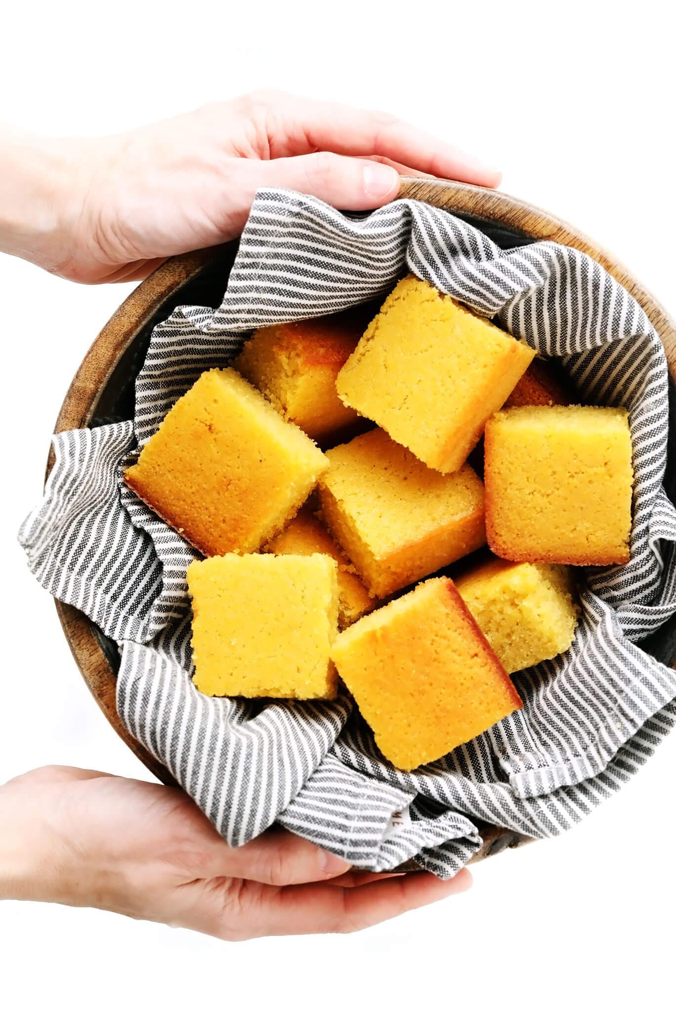Bowl of Homemade Cornbread Squares