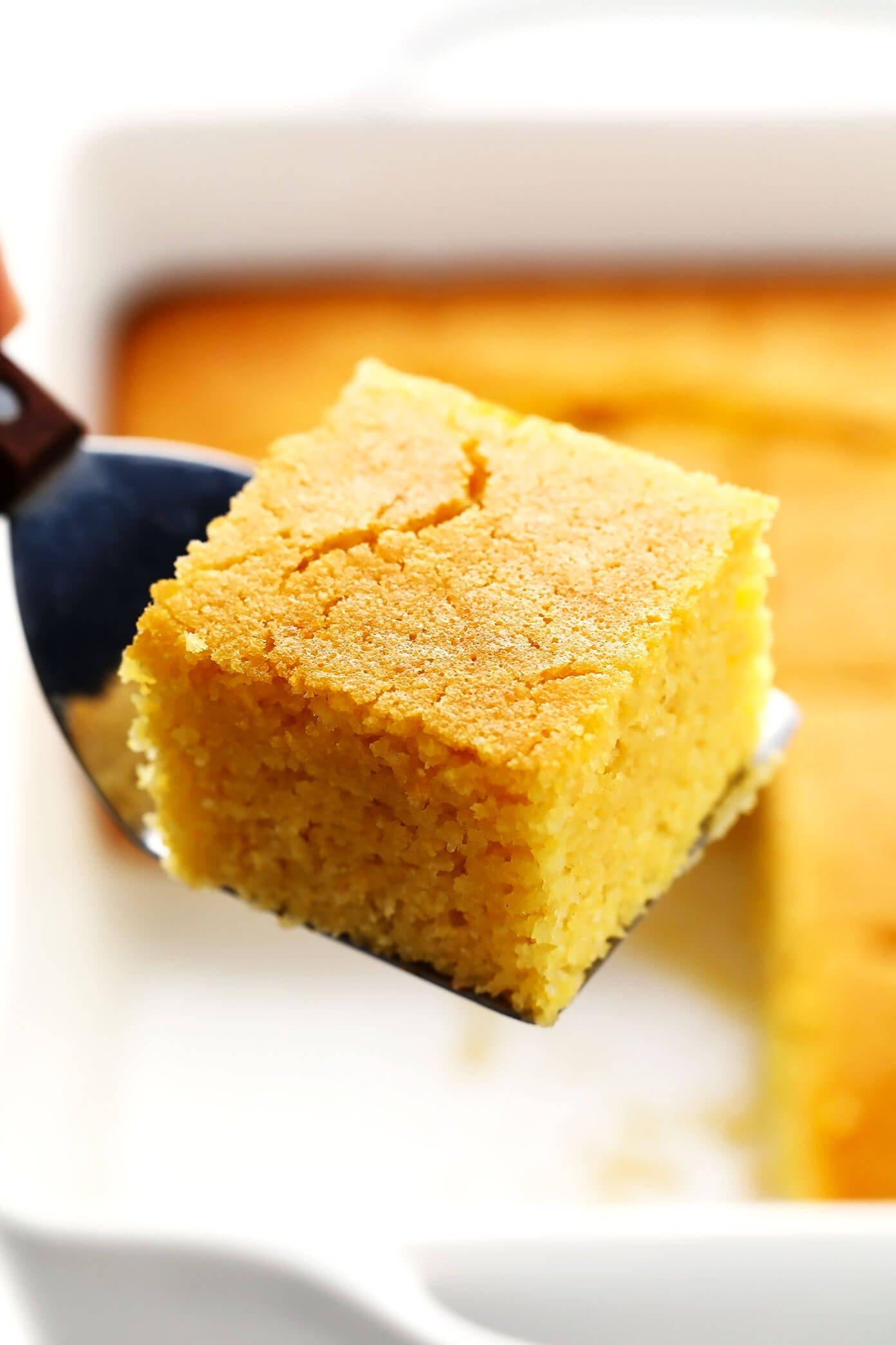 Homemade Cornbread Square in Baking Pan