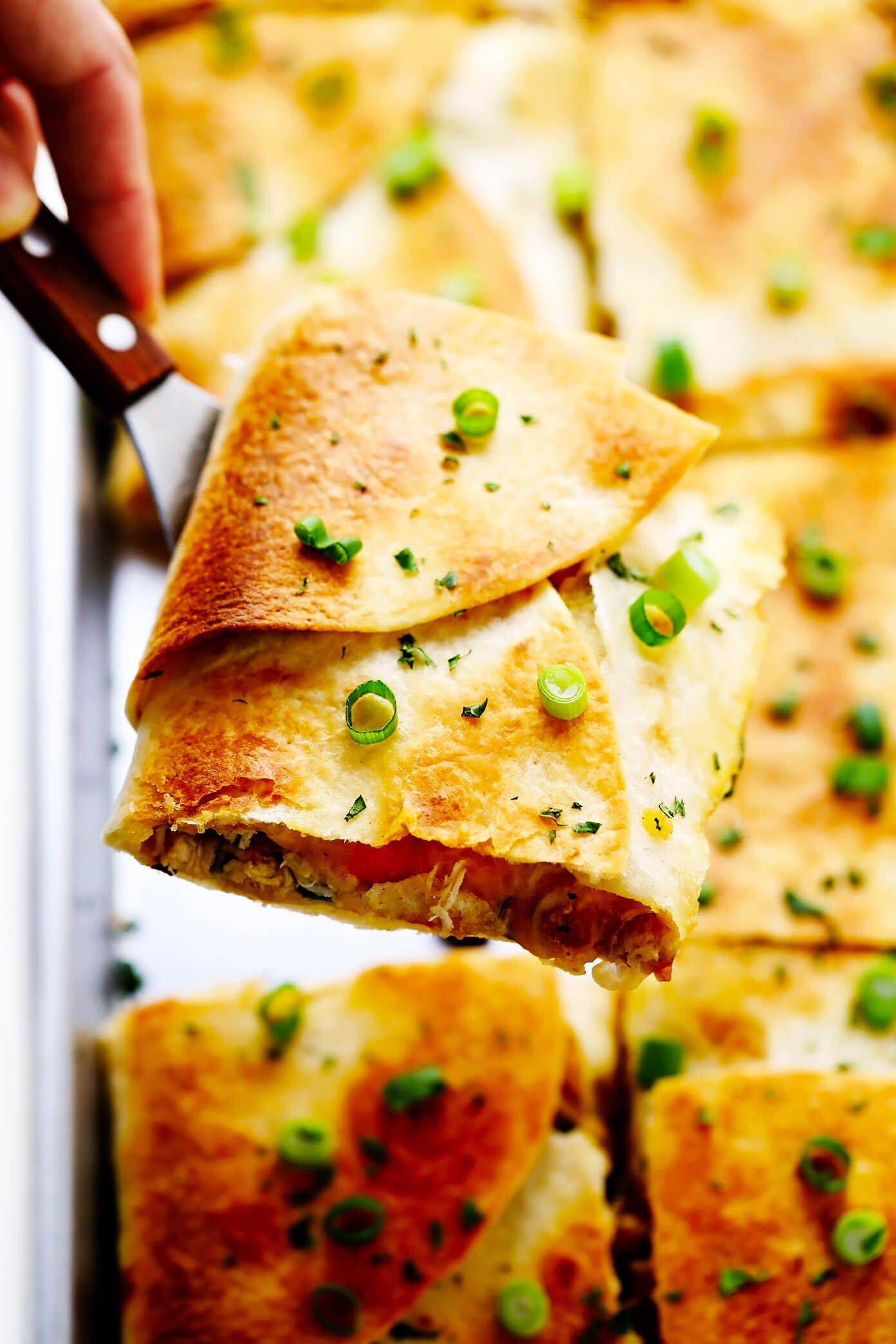 Sheet Pan Quesadilla Slice