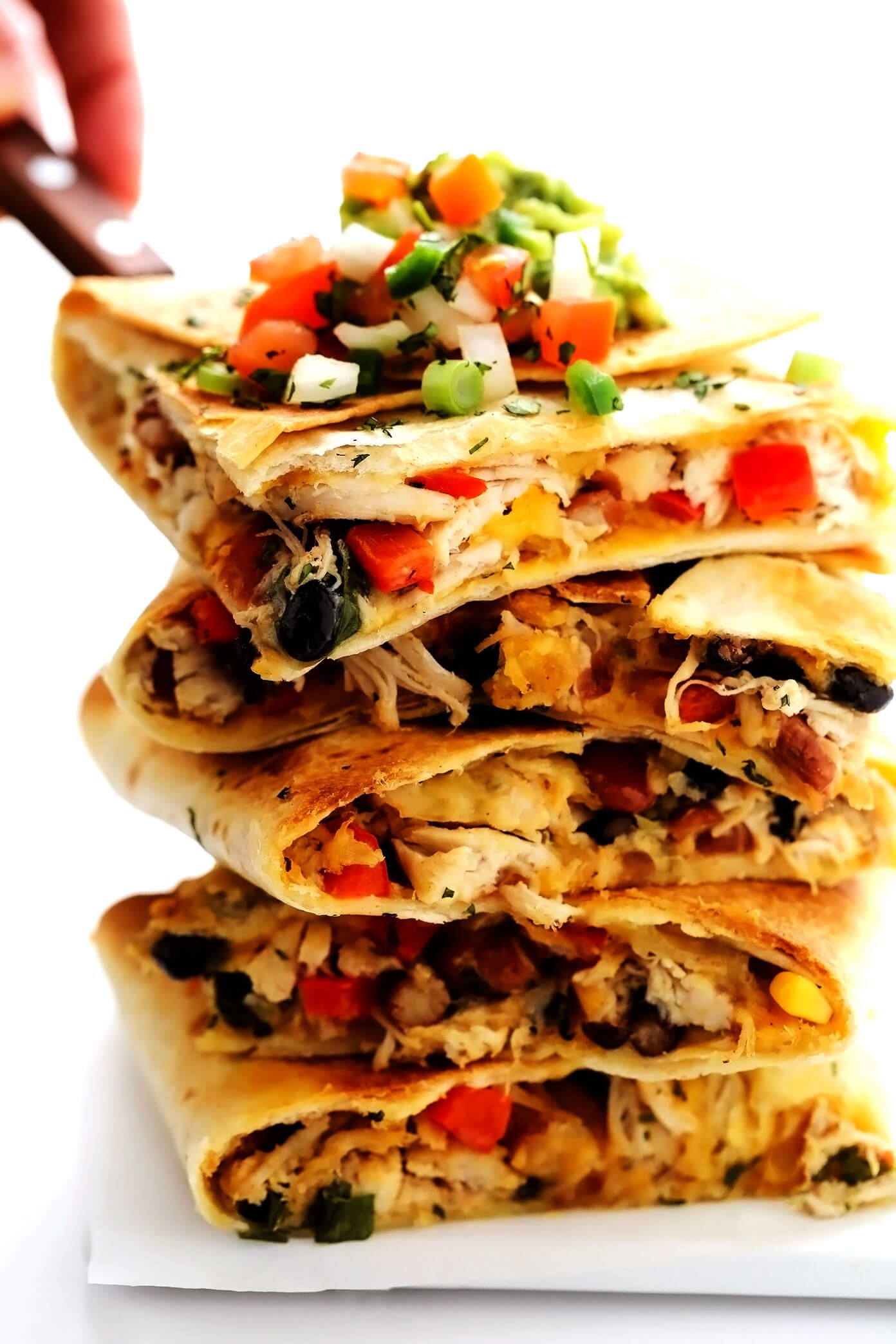 Layered Chicken Sheet Pan Quesadilla Slices