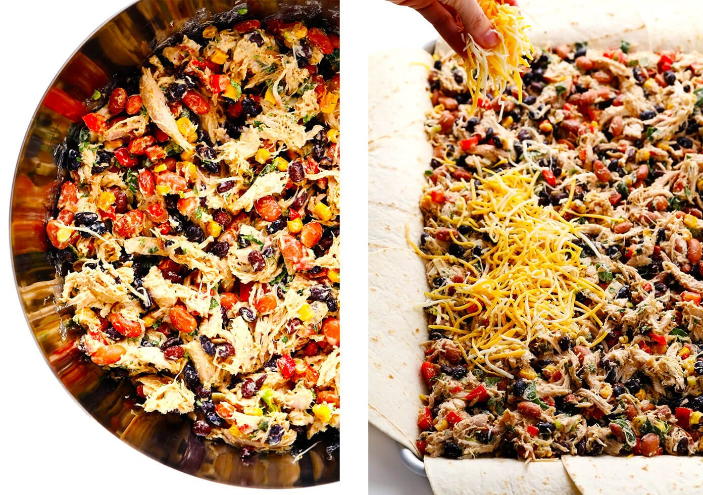 How To Make Sheet Pan Quesadillas -- Layering The Tortillas With Chicken Filling and Cheese