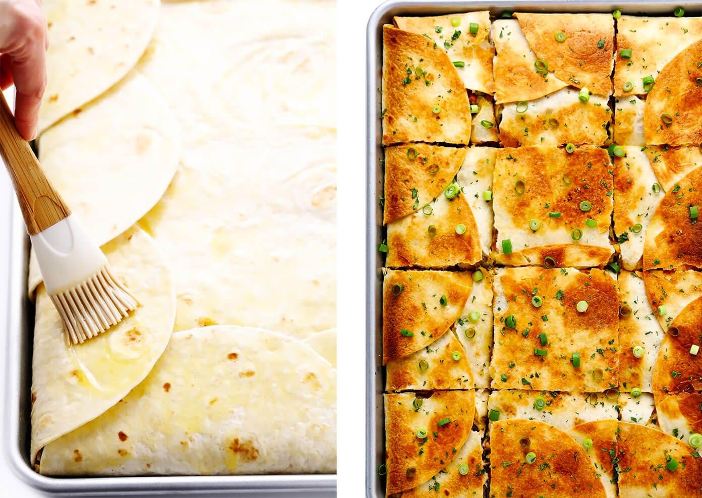 Brushing Sheet Pan Quesadilla with Butter