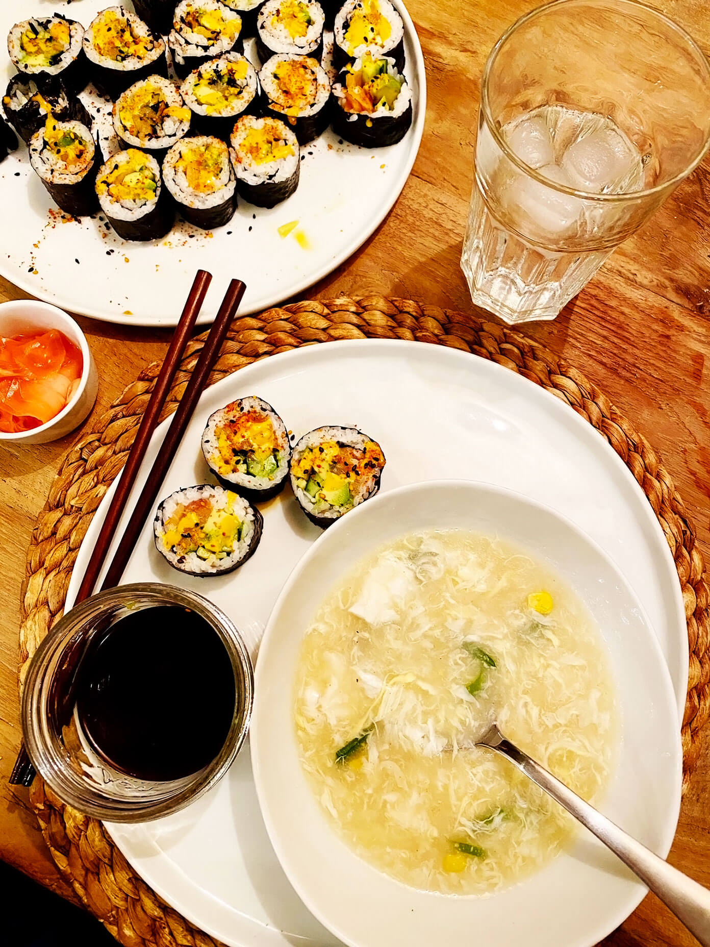 Homemade sushi and egg drop soup