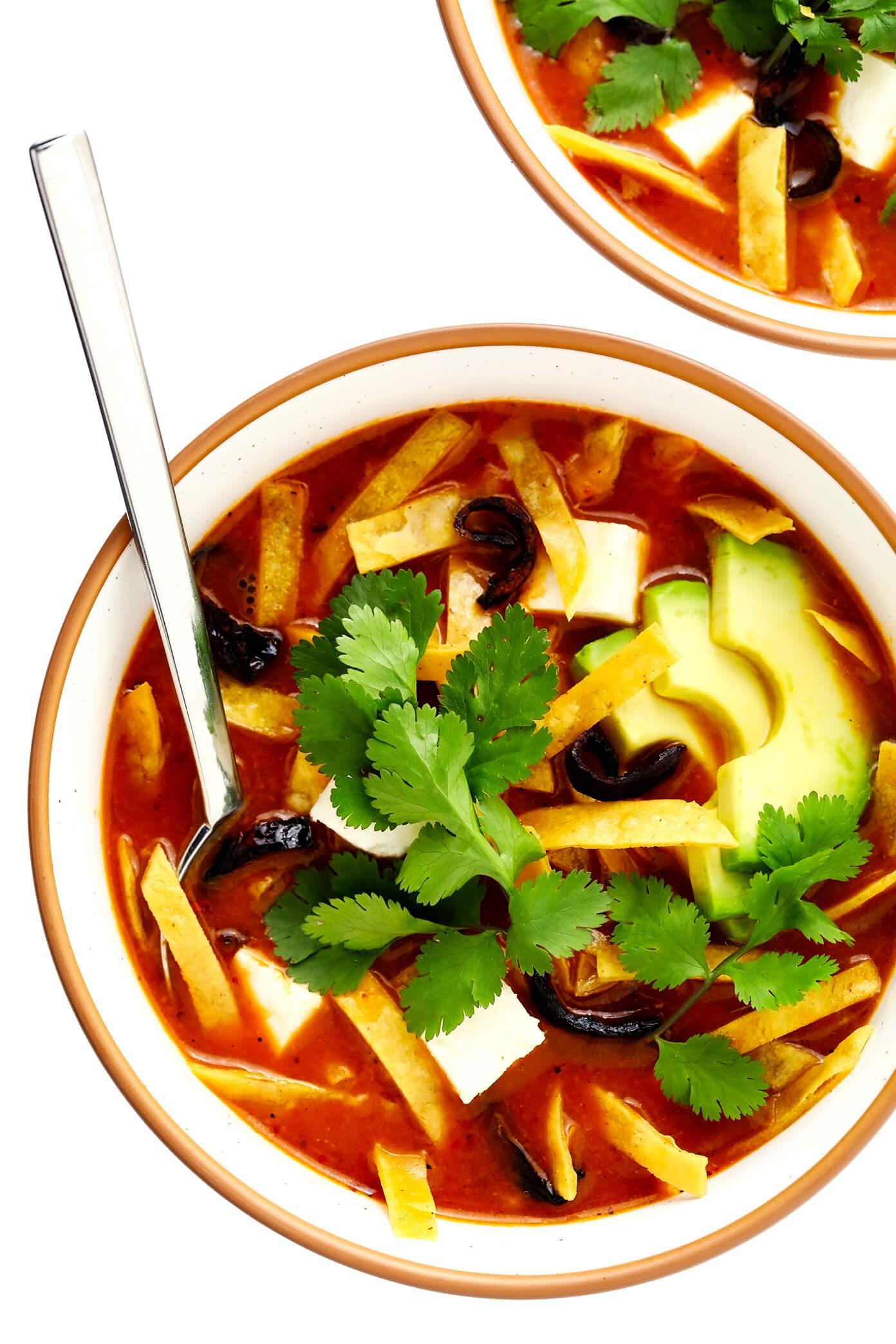 Sopa Azteca (Tortilla Soup) with Chicken and Avocado