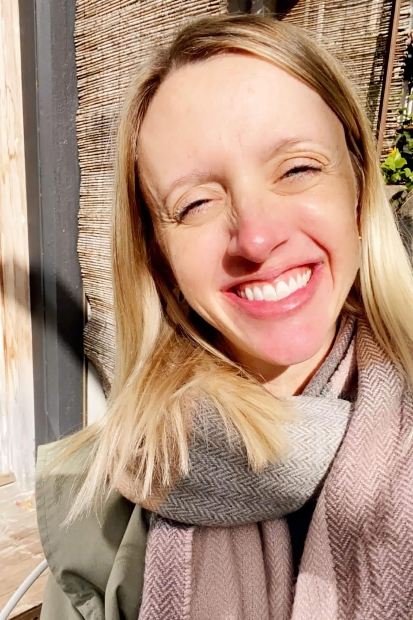 Squinty terrace selfie