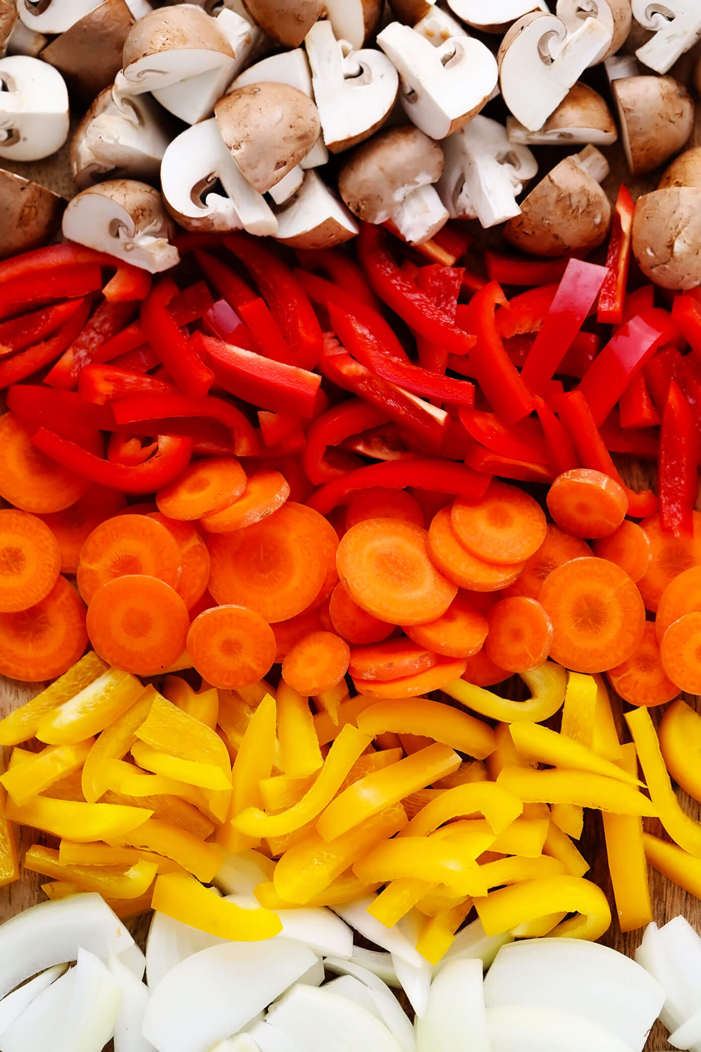 Rainbow veggies (mushrooms, bell peppers, carrots, onion) for Thai Chicken Curry recipe