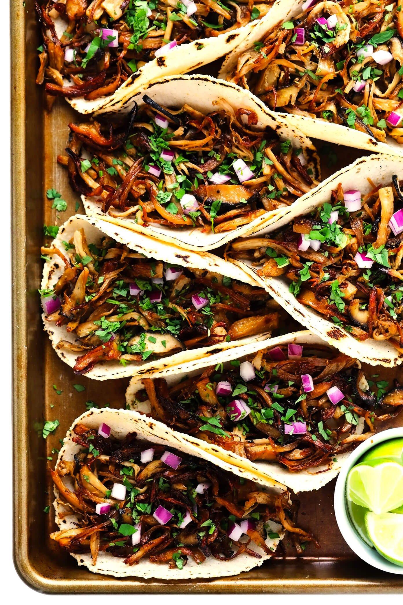 "Mushroom ""Carnitas"" Tacos with Limes"