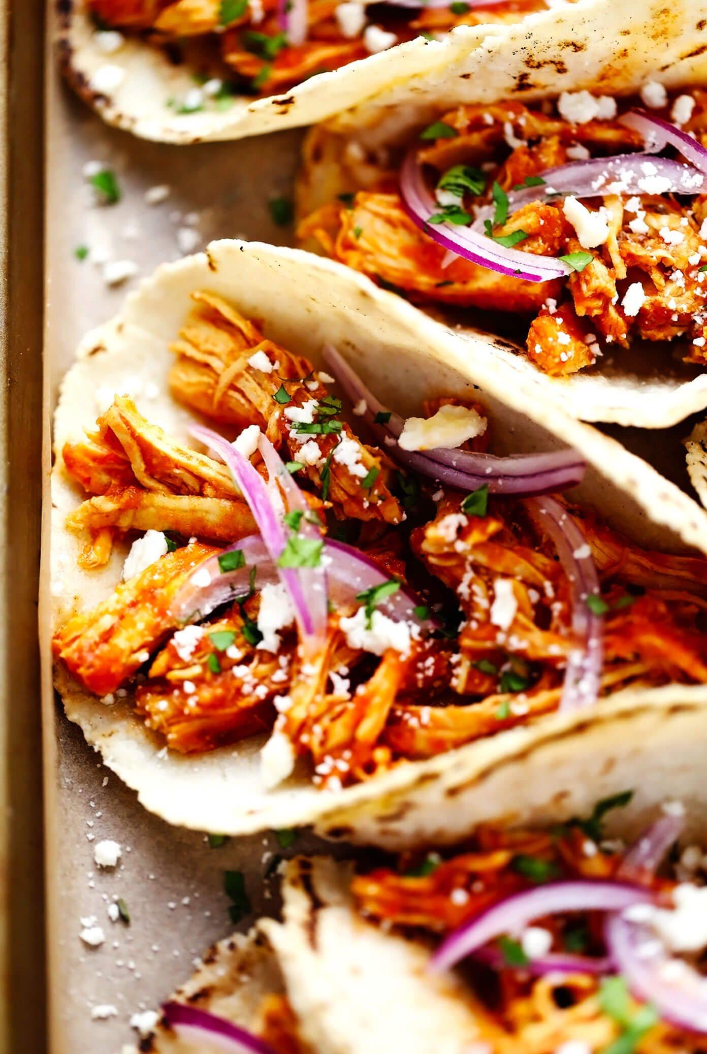 Chicken Tinga Tacos Closeup