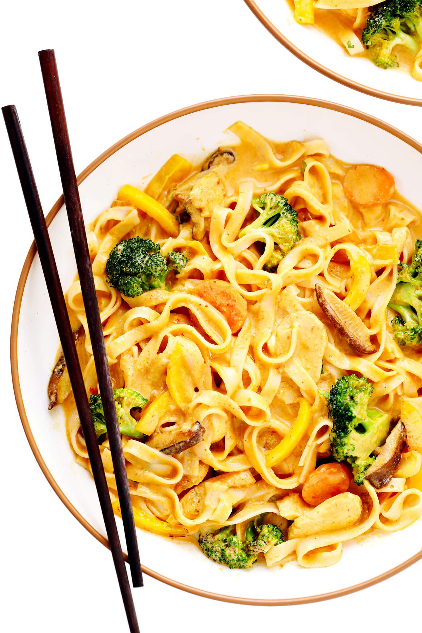 Saucy Thai Curried Peanut Noodles in Bowl with Chicken