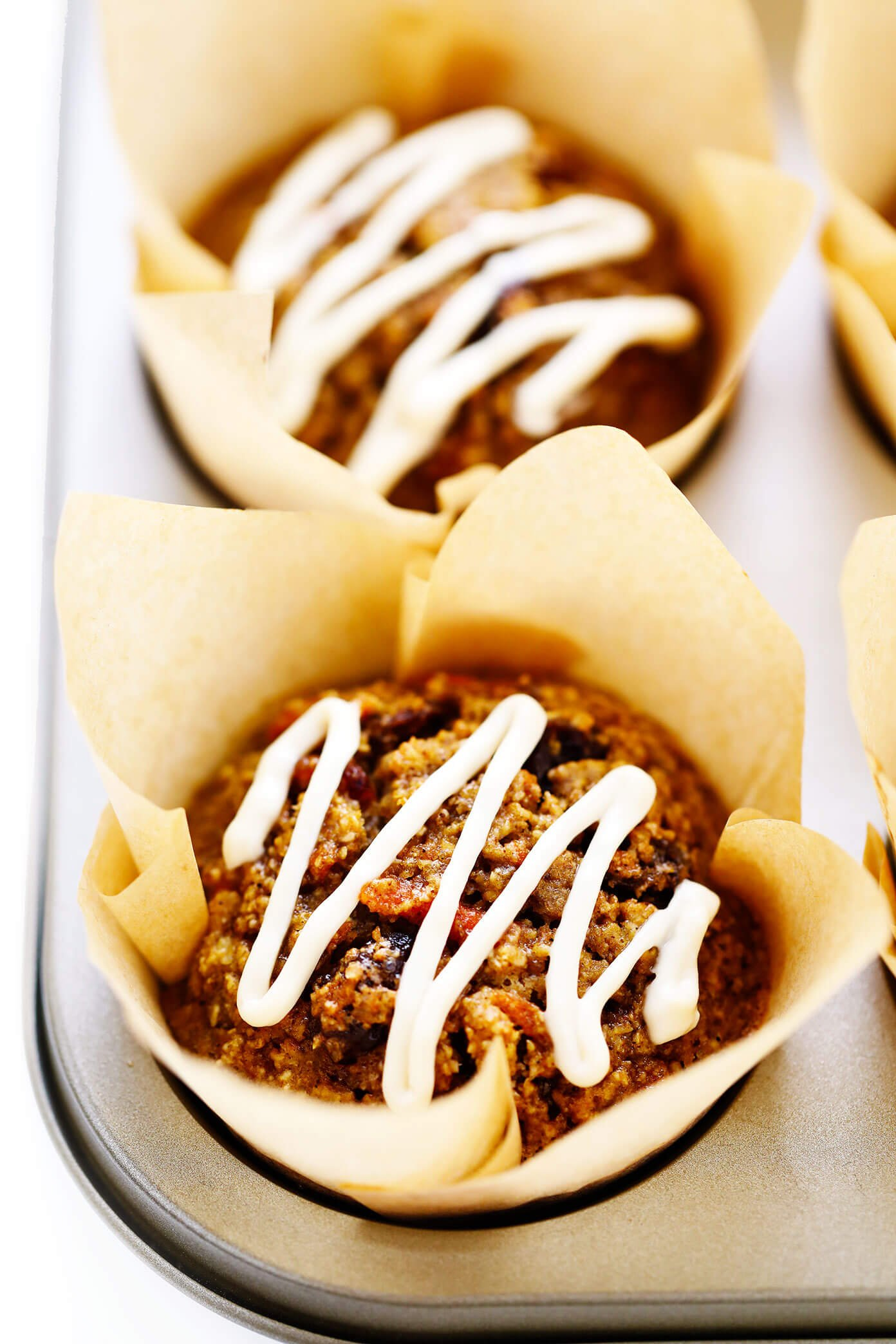 Closeup Carrot Cake Muffins with Cream Cheese Glaze