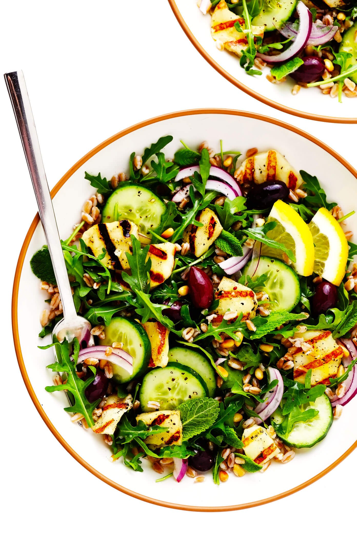 Grilled Halloumi Salad in Serving Bowls