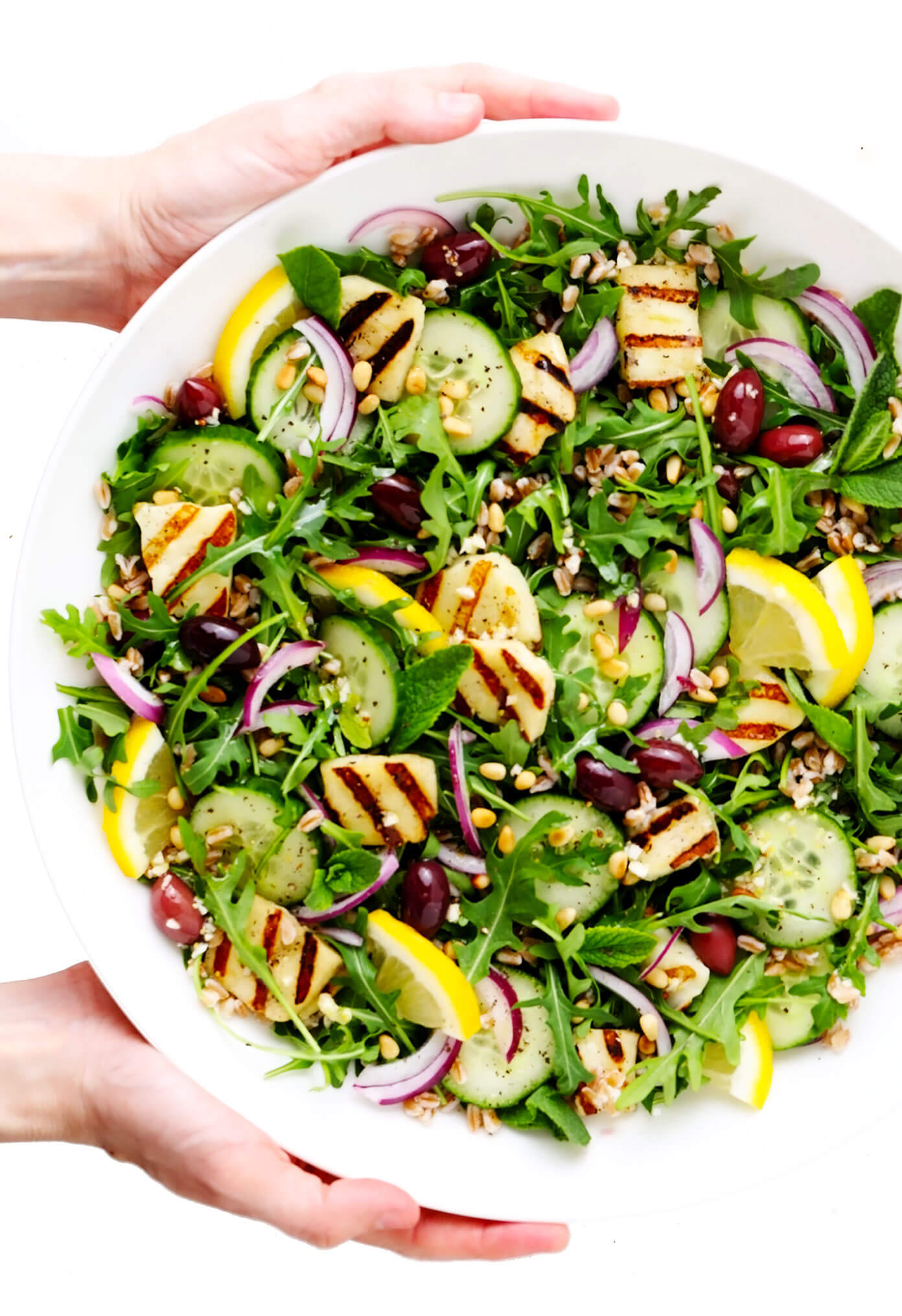 Grilled Halloumi Salad in Large Serving Bowl