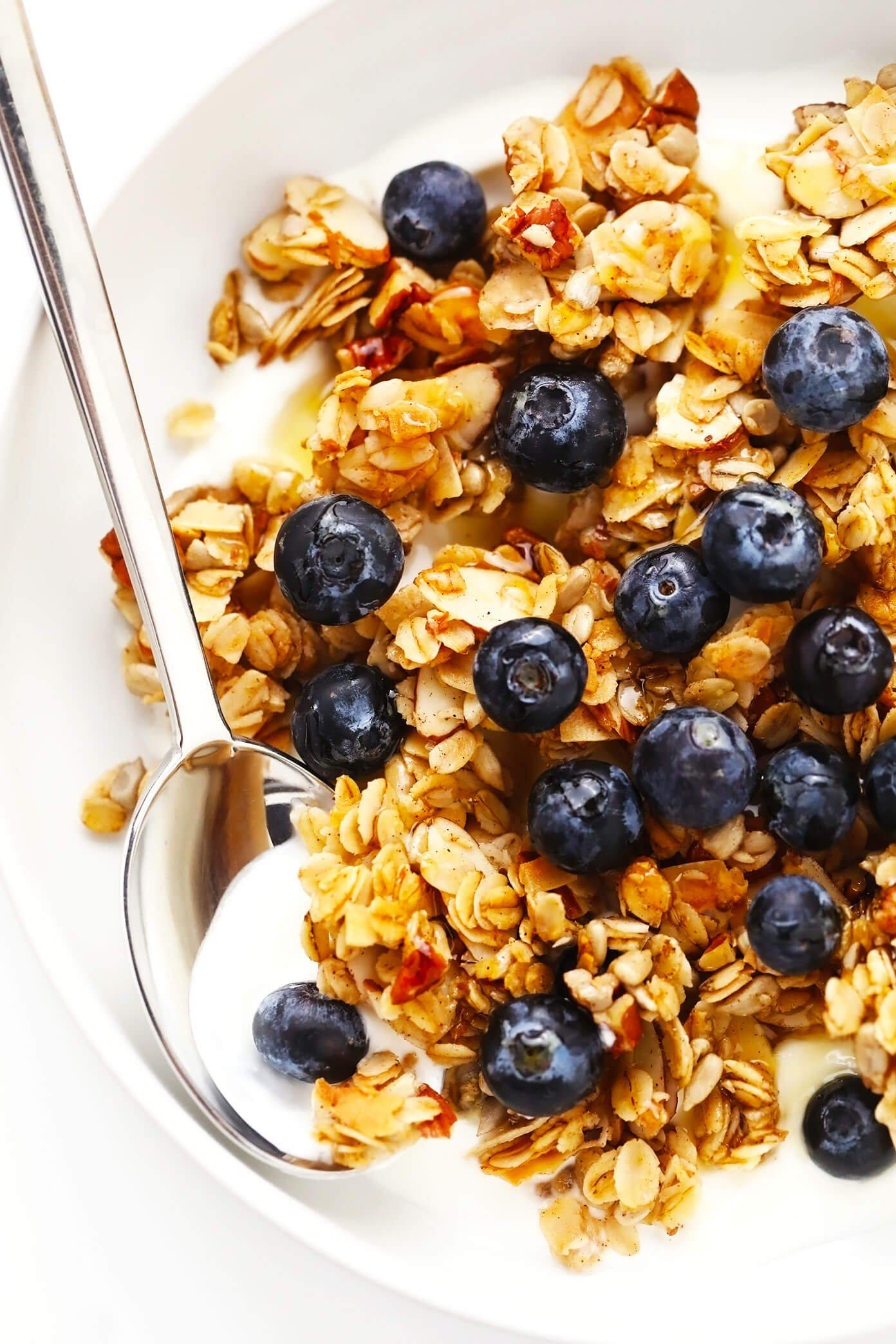 Homemade Granola with Blueberries and Greek Yogurt