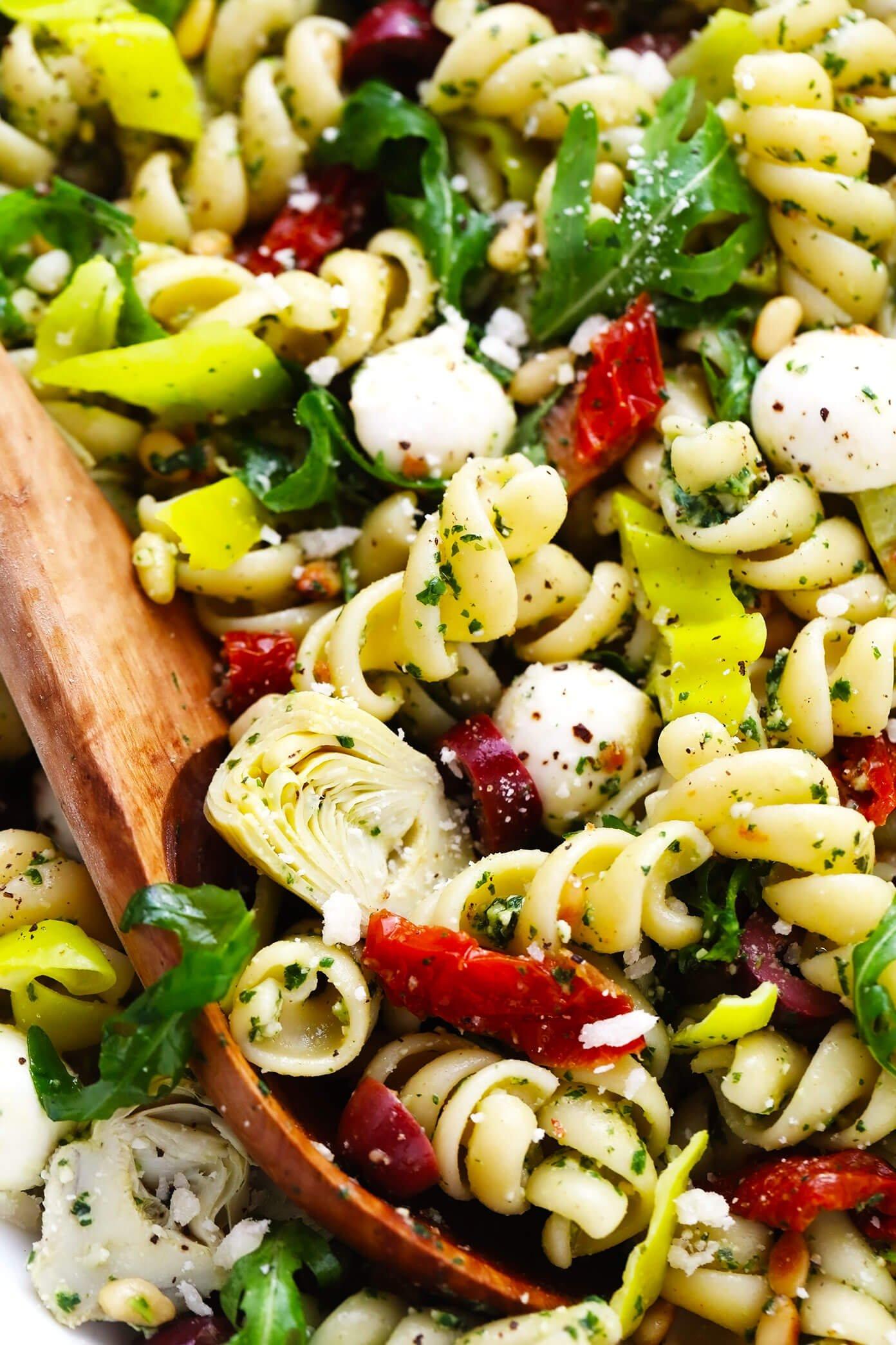 Italian Pesto Pasta Salad Closeup