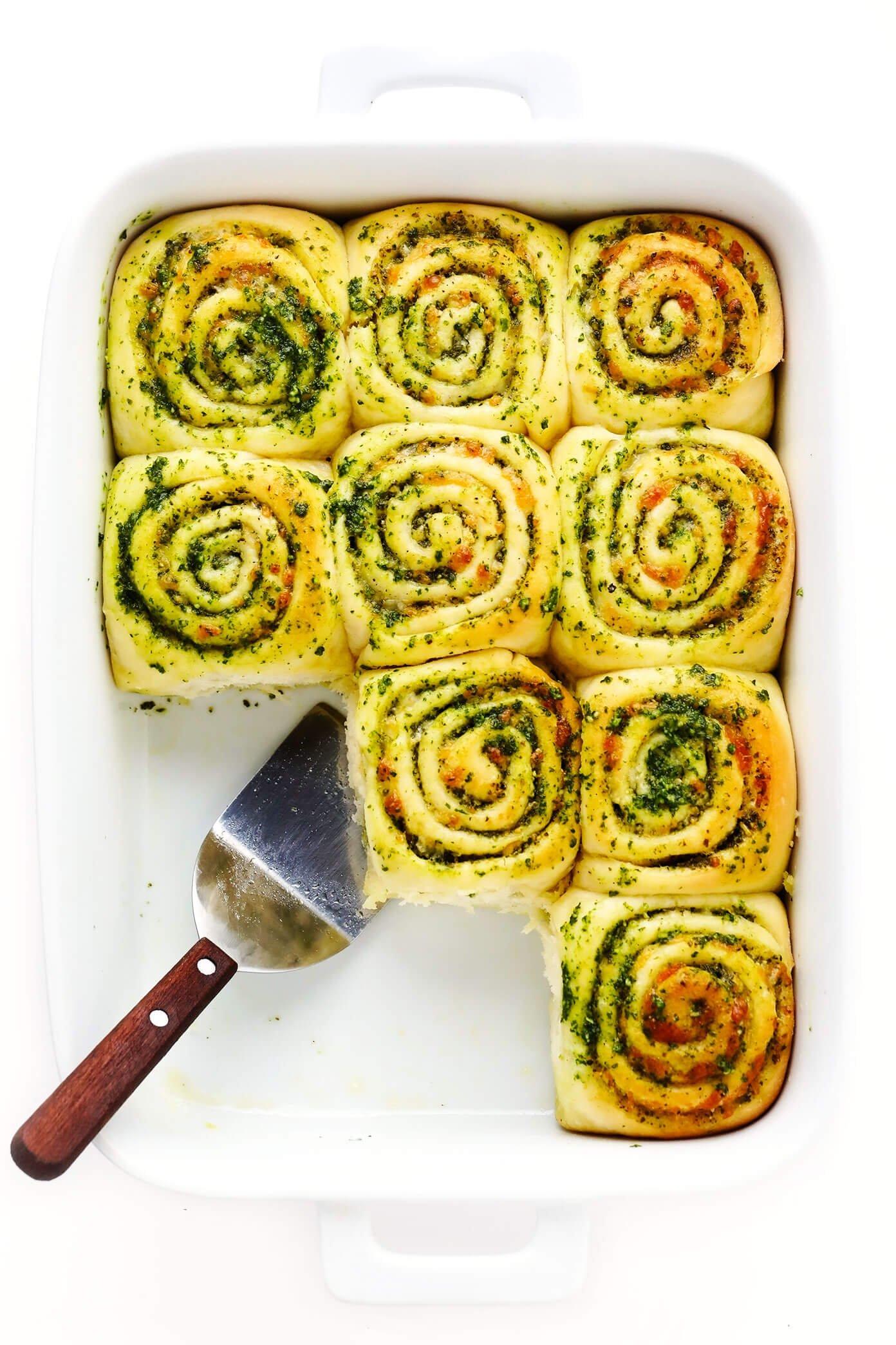 Cheesy Pesto Rolls in Baking Dish