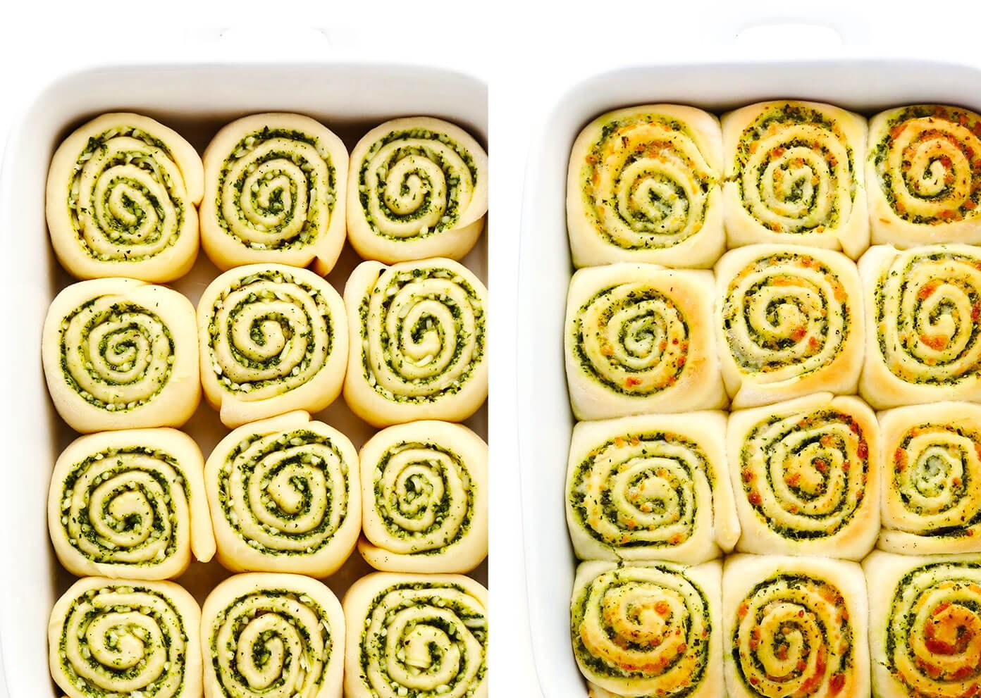 Before and After Baking of Cheesy Pesto Rolls