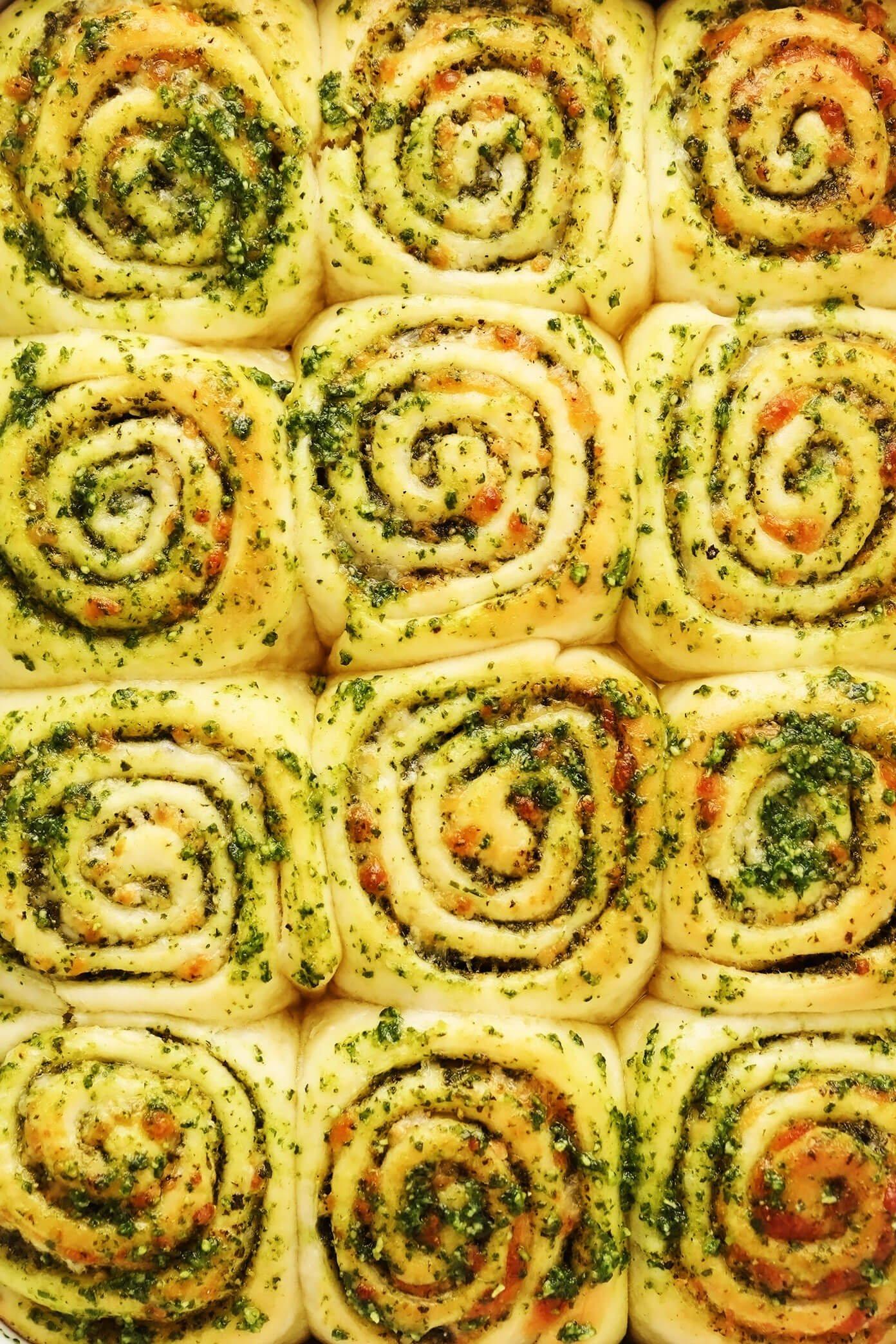 Cheesy Pesto Swirl Rolls Closeup