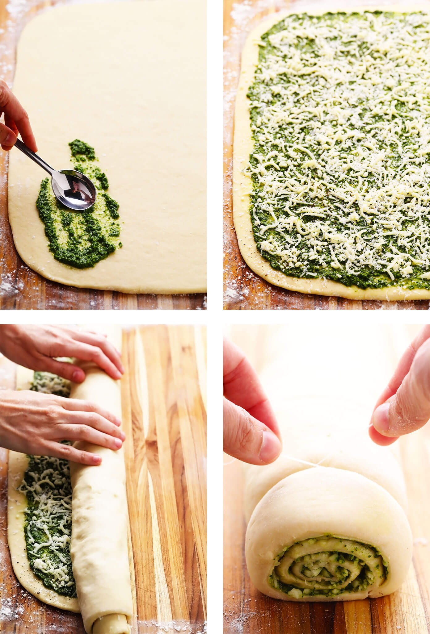 Step By Step of How To Make Cheesy Pesto Rolls