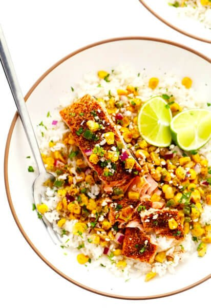 Chili Lime Salmon with Esquites (Mexican Street Corn Salsa Dip)