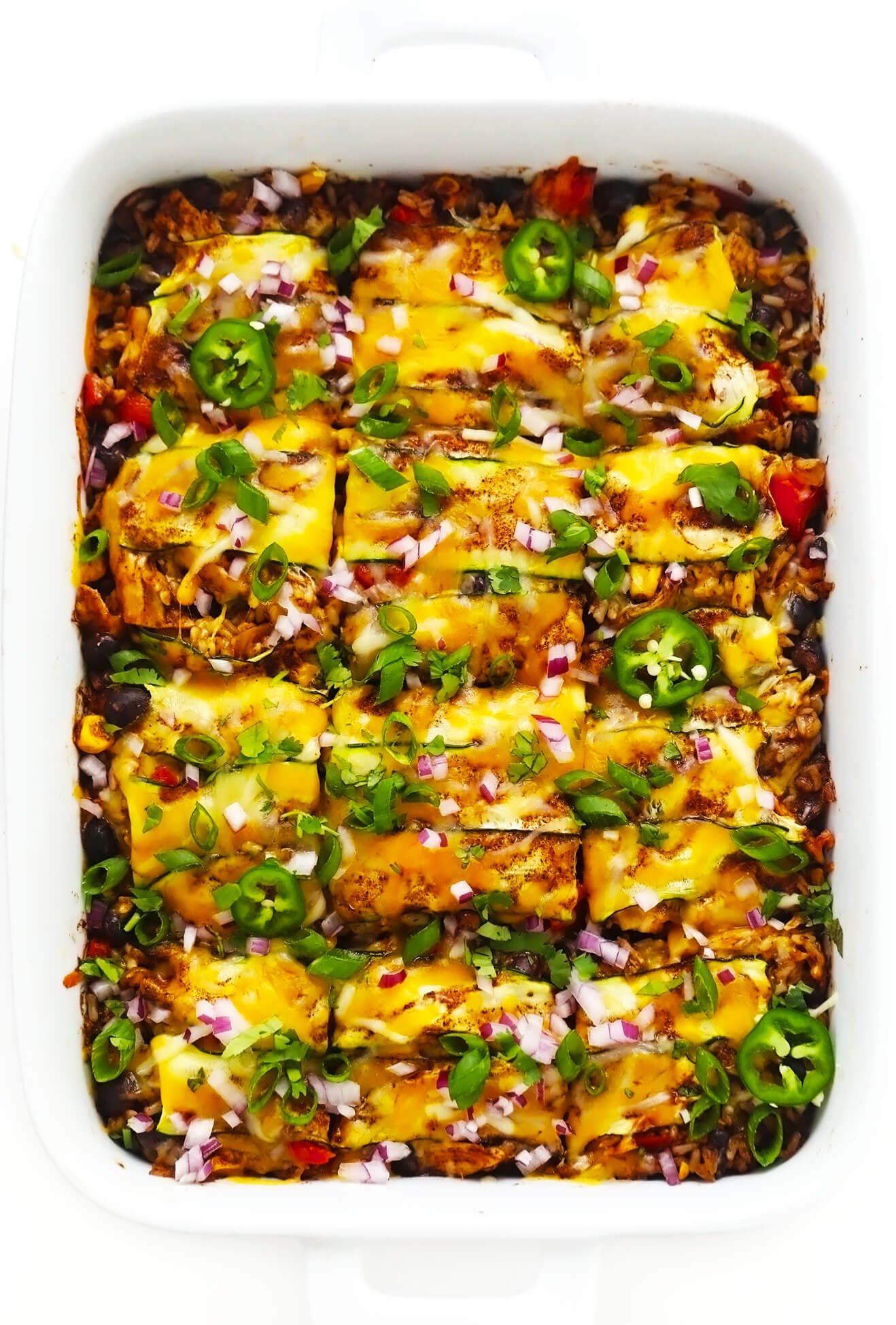 Zucchini Chicken Enchilada Casserole in Baking Dish